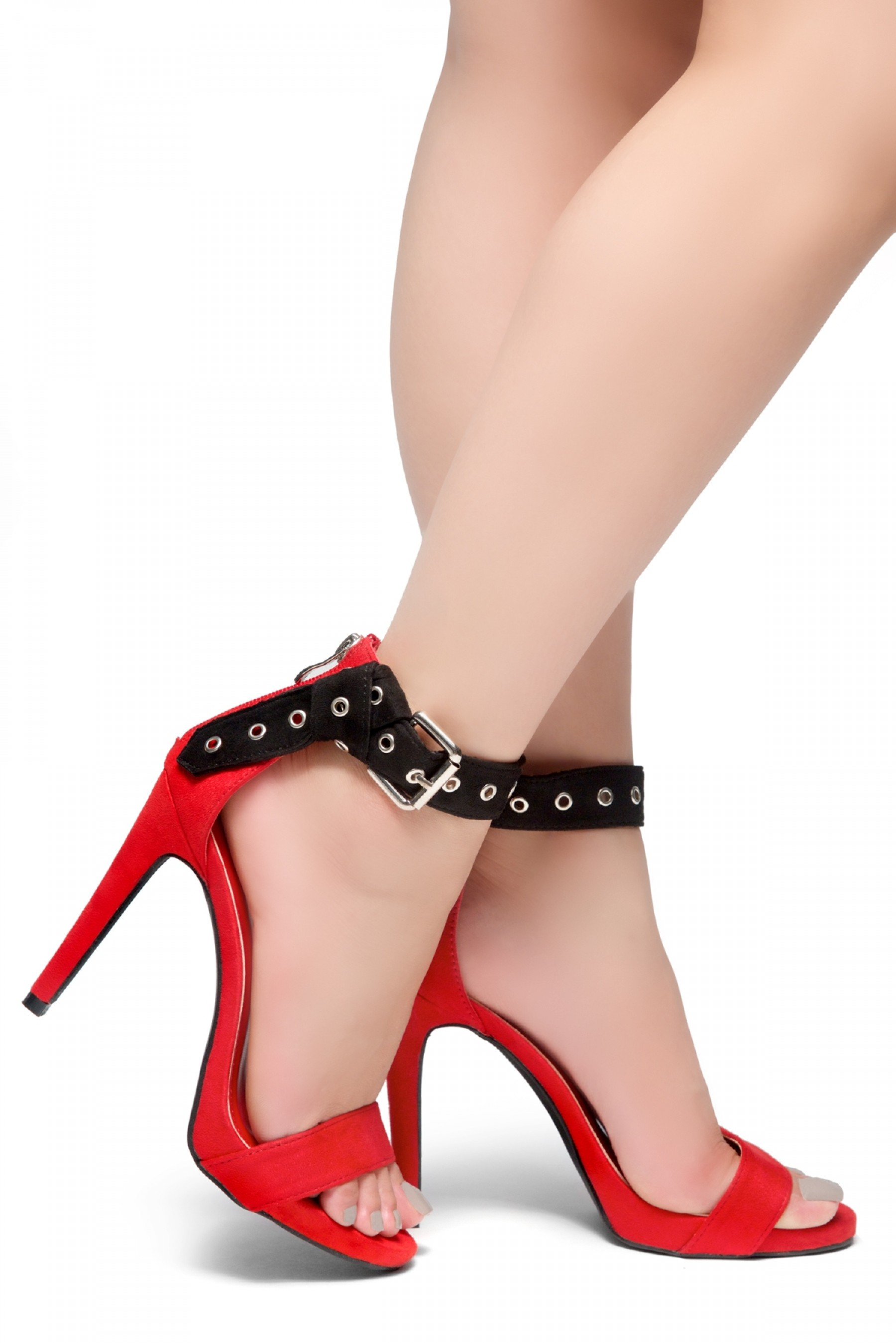 HerStyle Suger Sweet-Stiletto Heel, Ankle Strap Buckle Details Back Zipper Sandals (BlackRed)