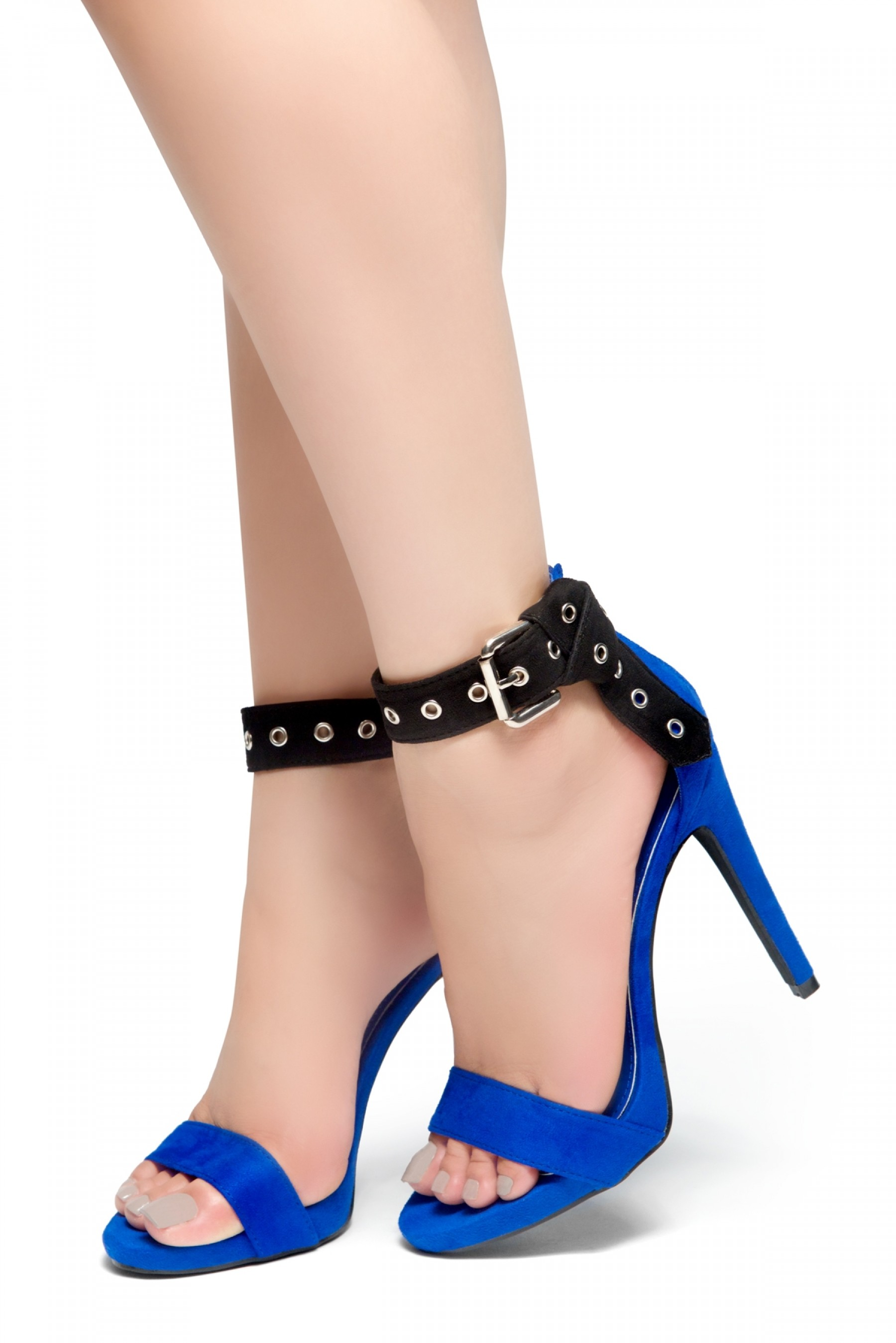 HerStyle Suger Sweet-Stiletto Heel, Ankle Strap Buckle Details Back Zipper Sandals (RoyalBlue)