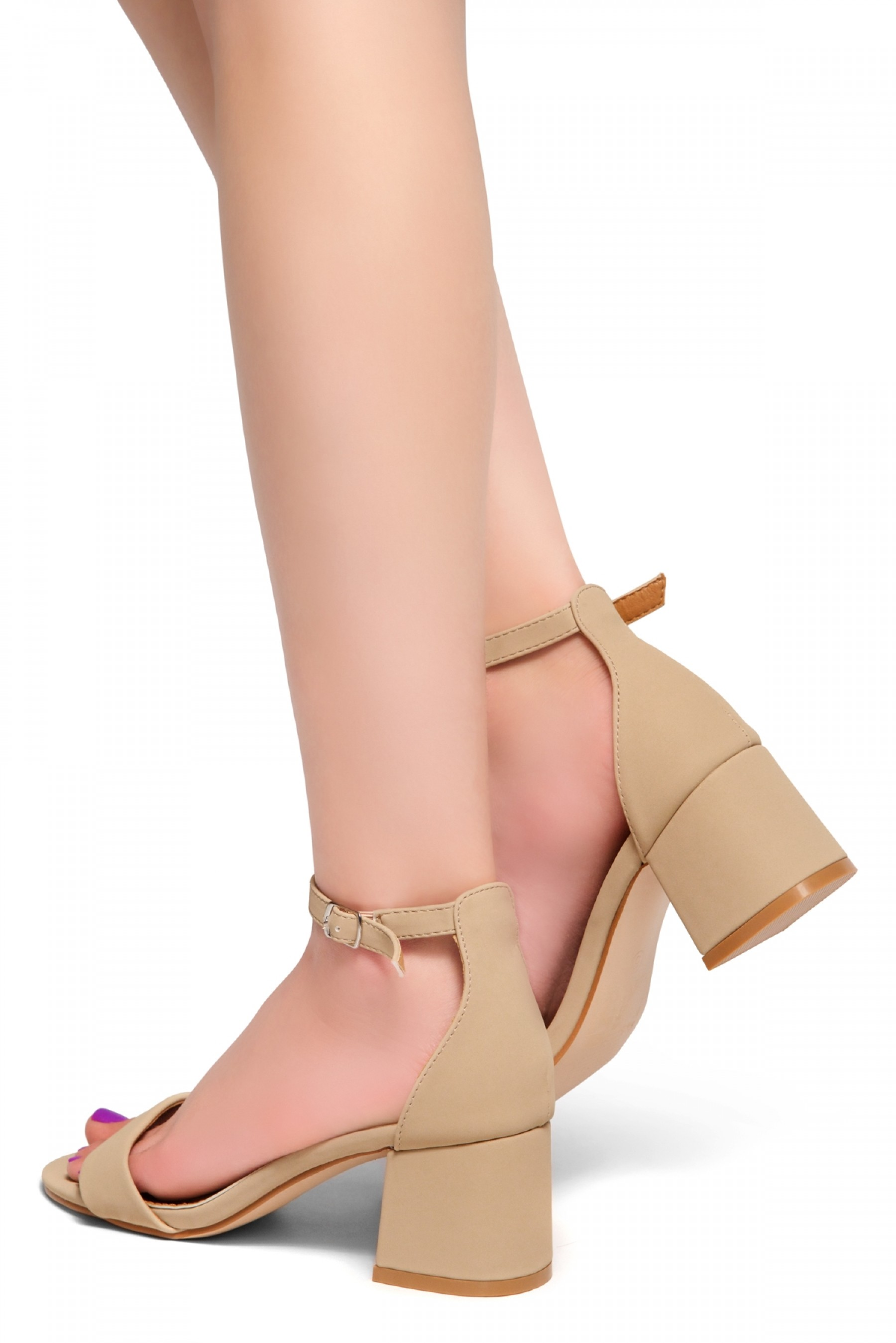 HerStyle SUNDAY-open toe, block heel,ankle strap with an adjustable buckle (SandNubuck)