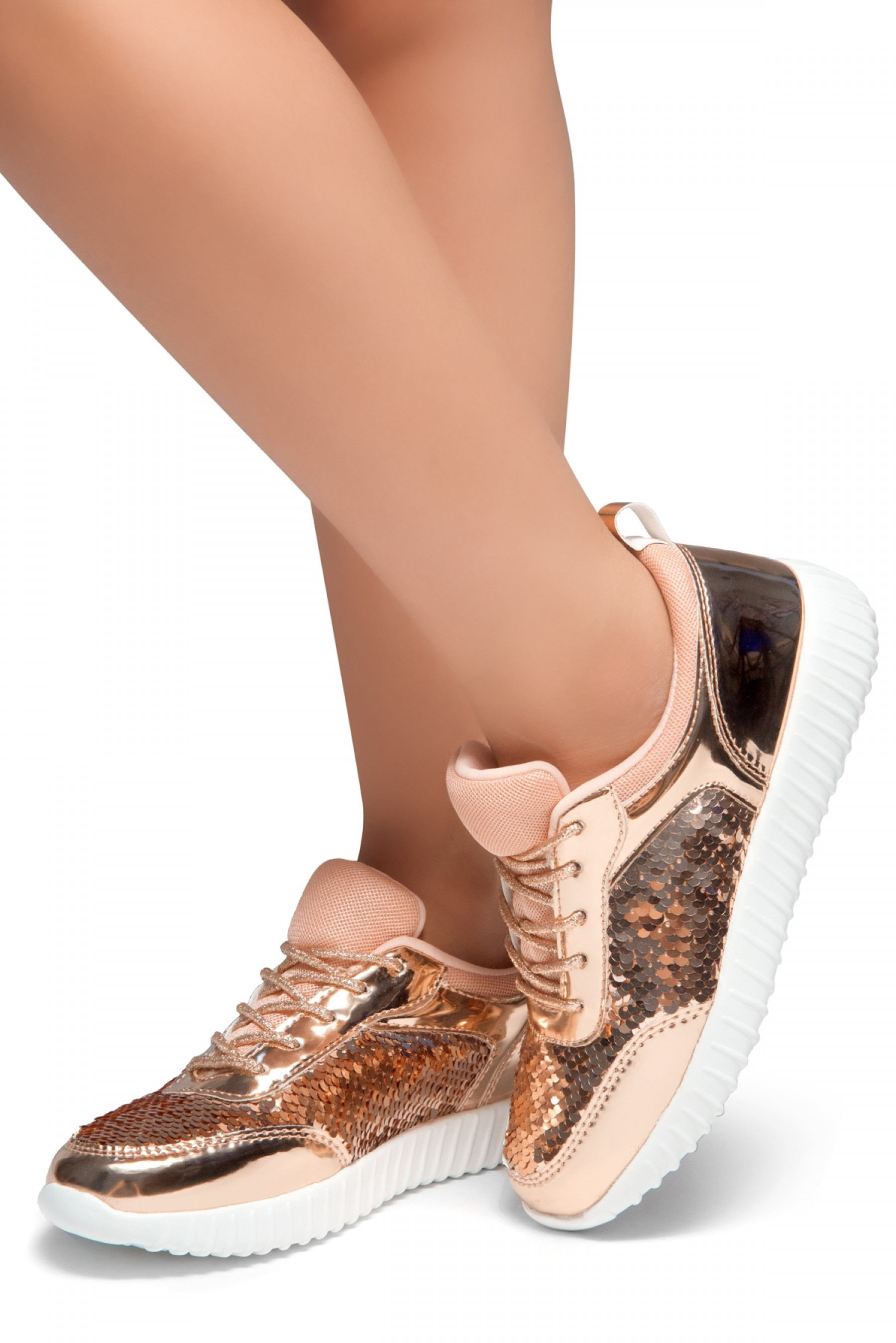 HerStyle TULULA-Sparkling Sequins Sneaker With Lace Upper (RoseGold/RoseGold)