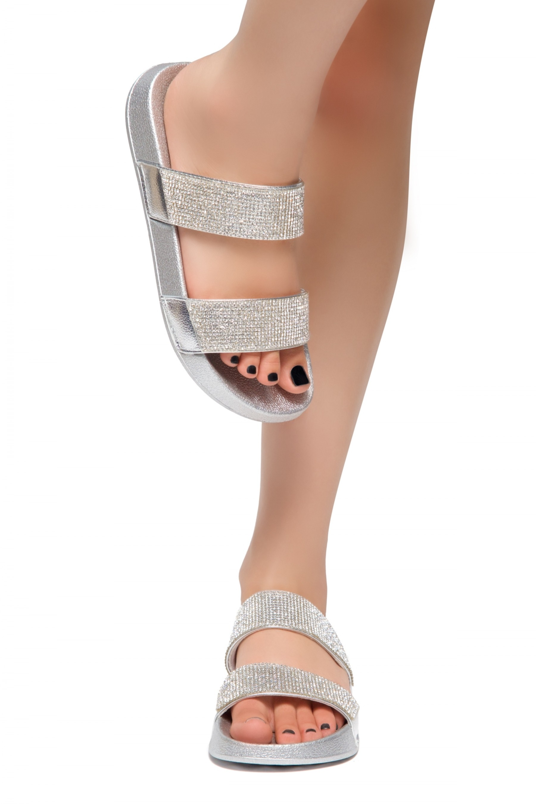 HerStyle Anabell Open Toe Jewelled Embellishment Slide Sandal (Silver)