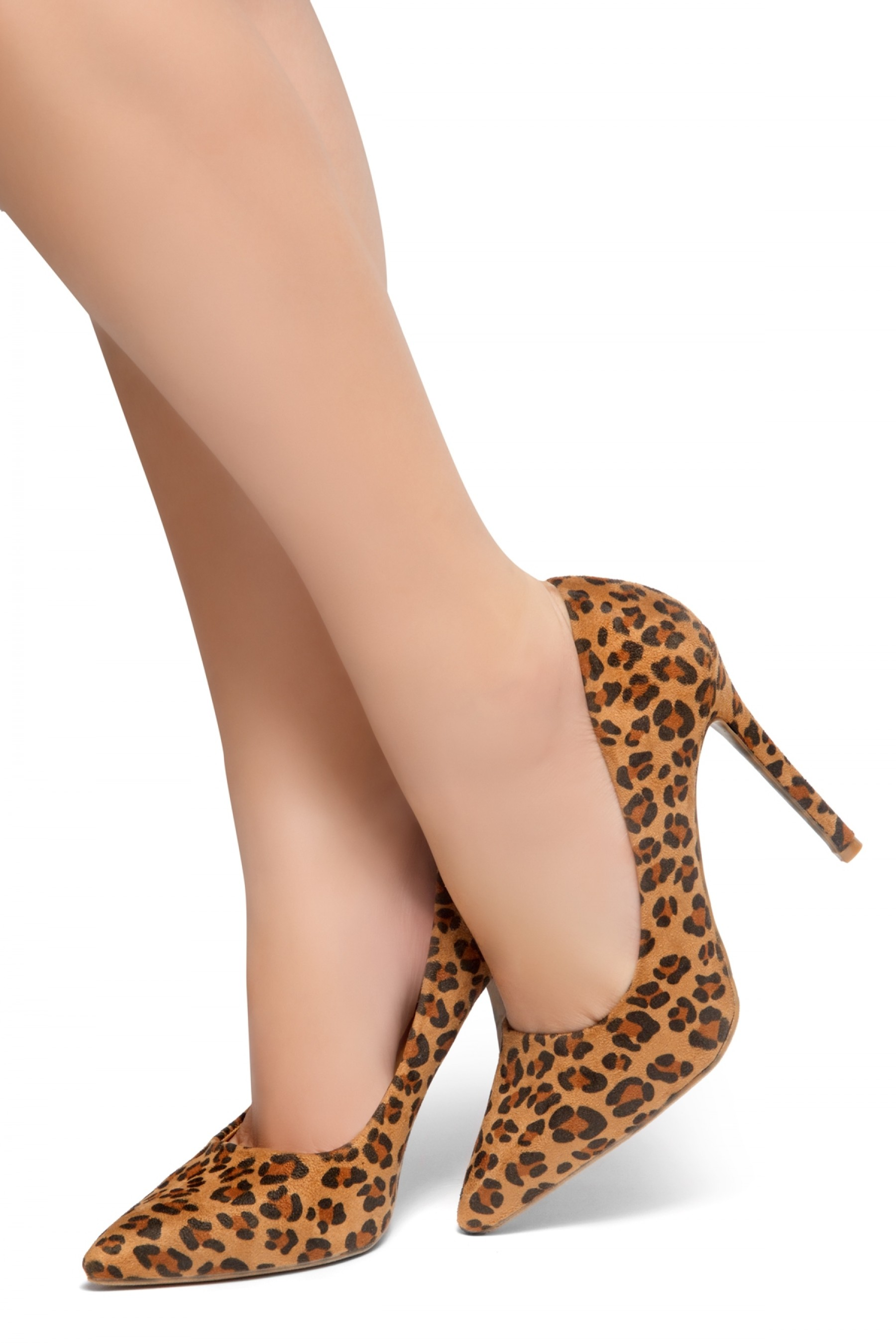 HerStyle Marneena-Women's Manmade 4-inch Sueded Heel with Lightly Pointed Toe (Leopard)