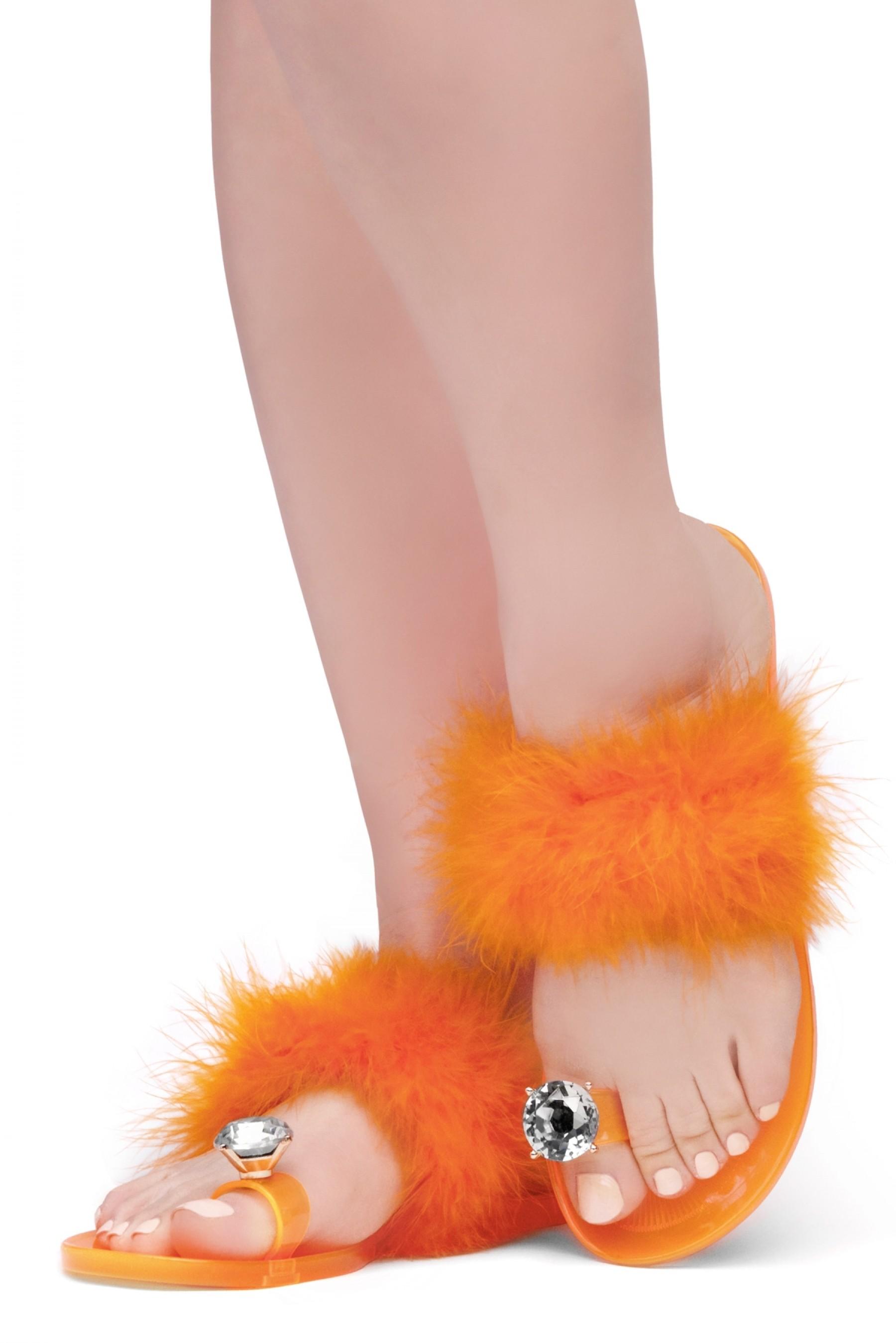 Shoe Land SUMMER Women's Cute Toe Ring Fur Slides Slippers Fashion Comfort Flat Sandals(2000OrangeFur)
