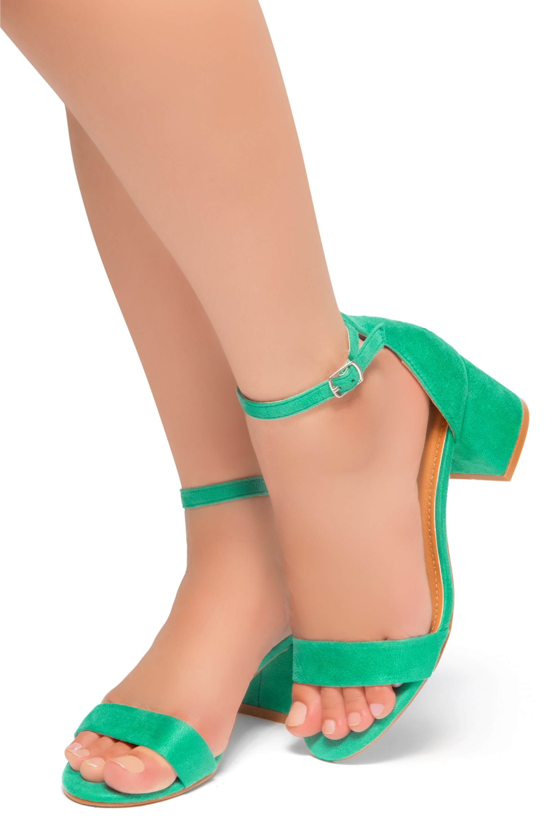 HerStyle SUNDAY-open toe, block heel,ankle strap with an adjustable buckle (Green)