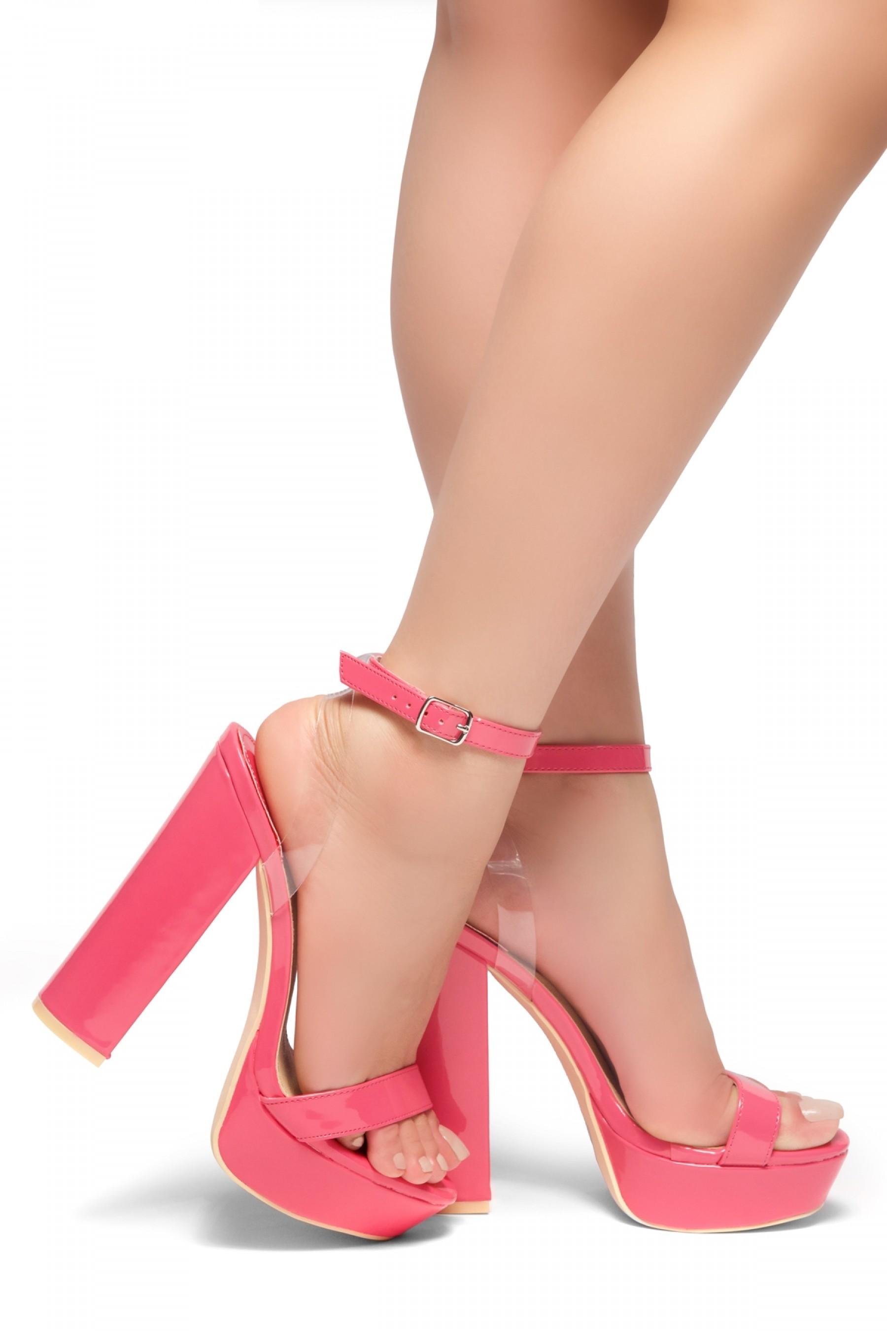 HerStyle MALIKA- Ankle Strap Platform Chunky Heel (Fuchsia)