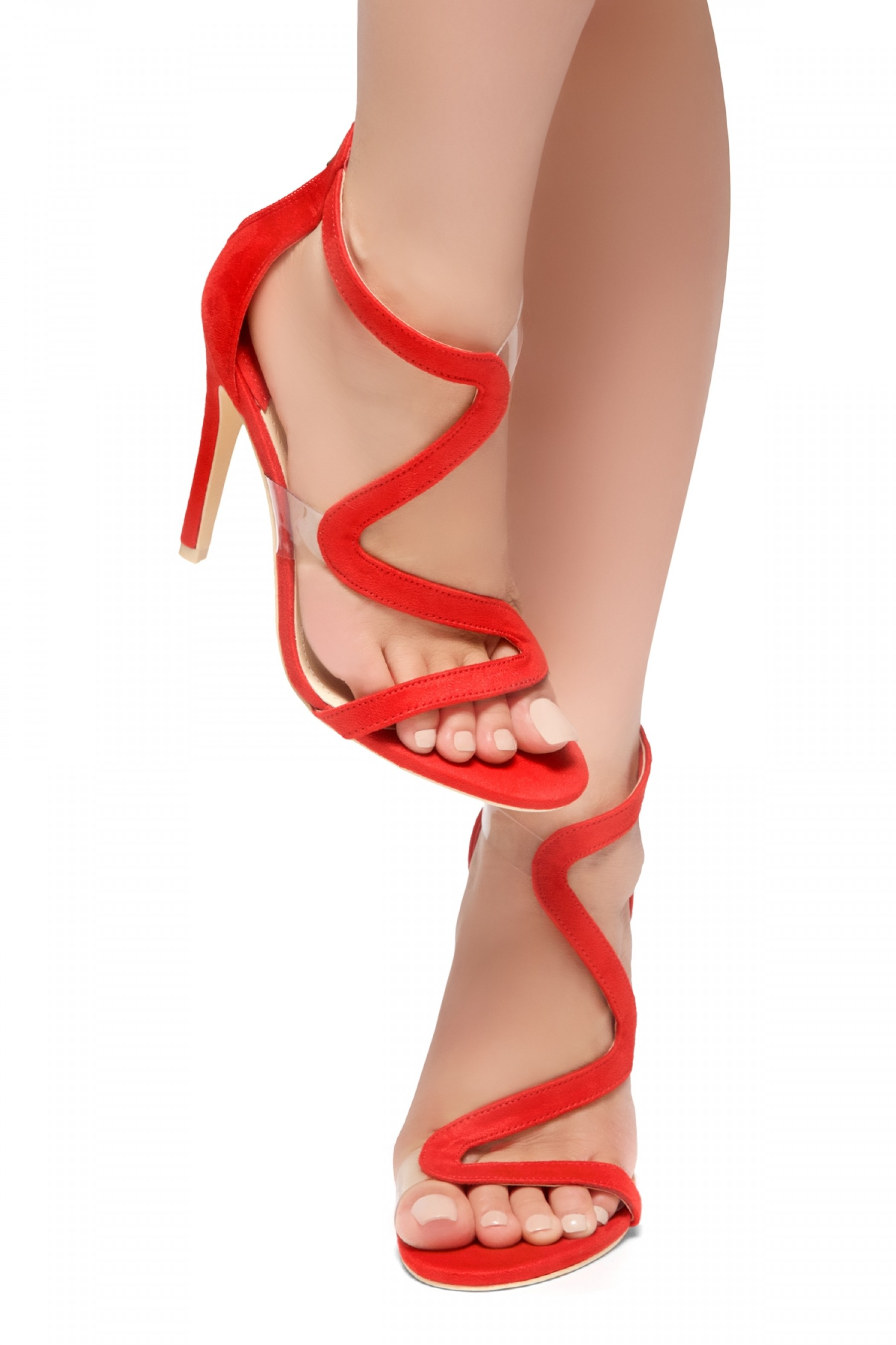 HerStyle GILLS- Curvy Vamp Strap across from Toe to Back Heel (Red)