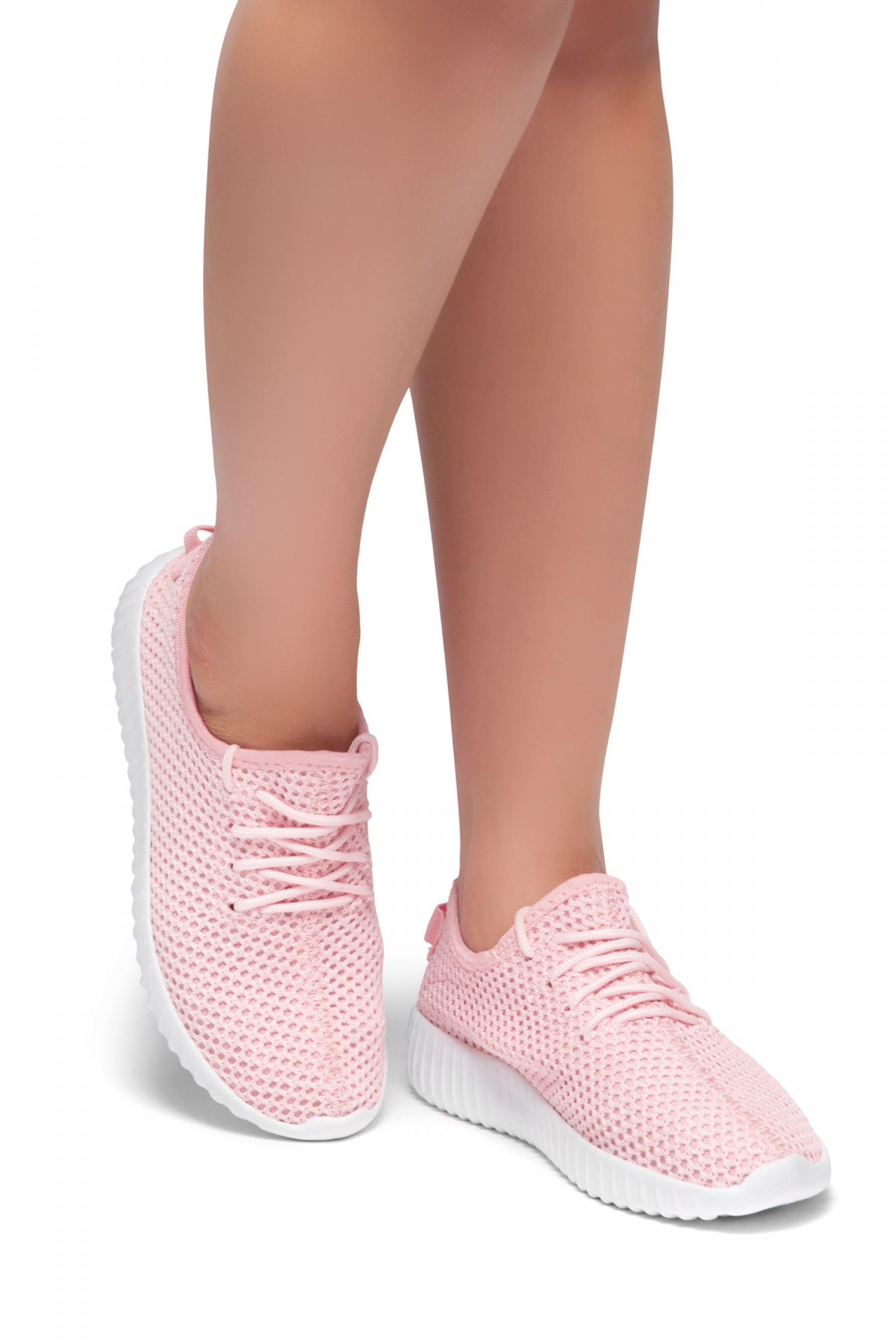Herstyle Women's Manmade  Addon  Spec Flyknit Contrast Sneakers - Pink/White
