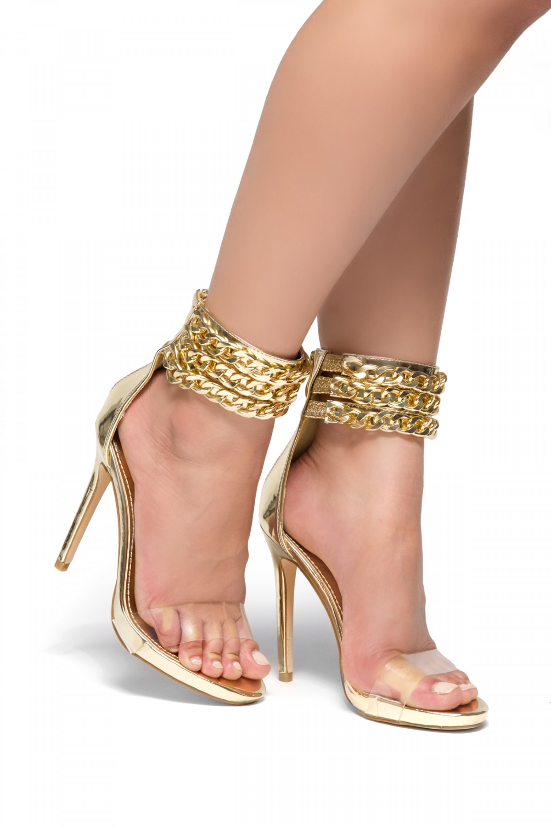 Adrrianna Gold chain Perspex strap stiletto Heels (ClearGold)