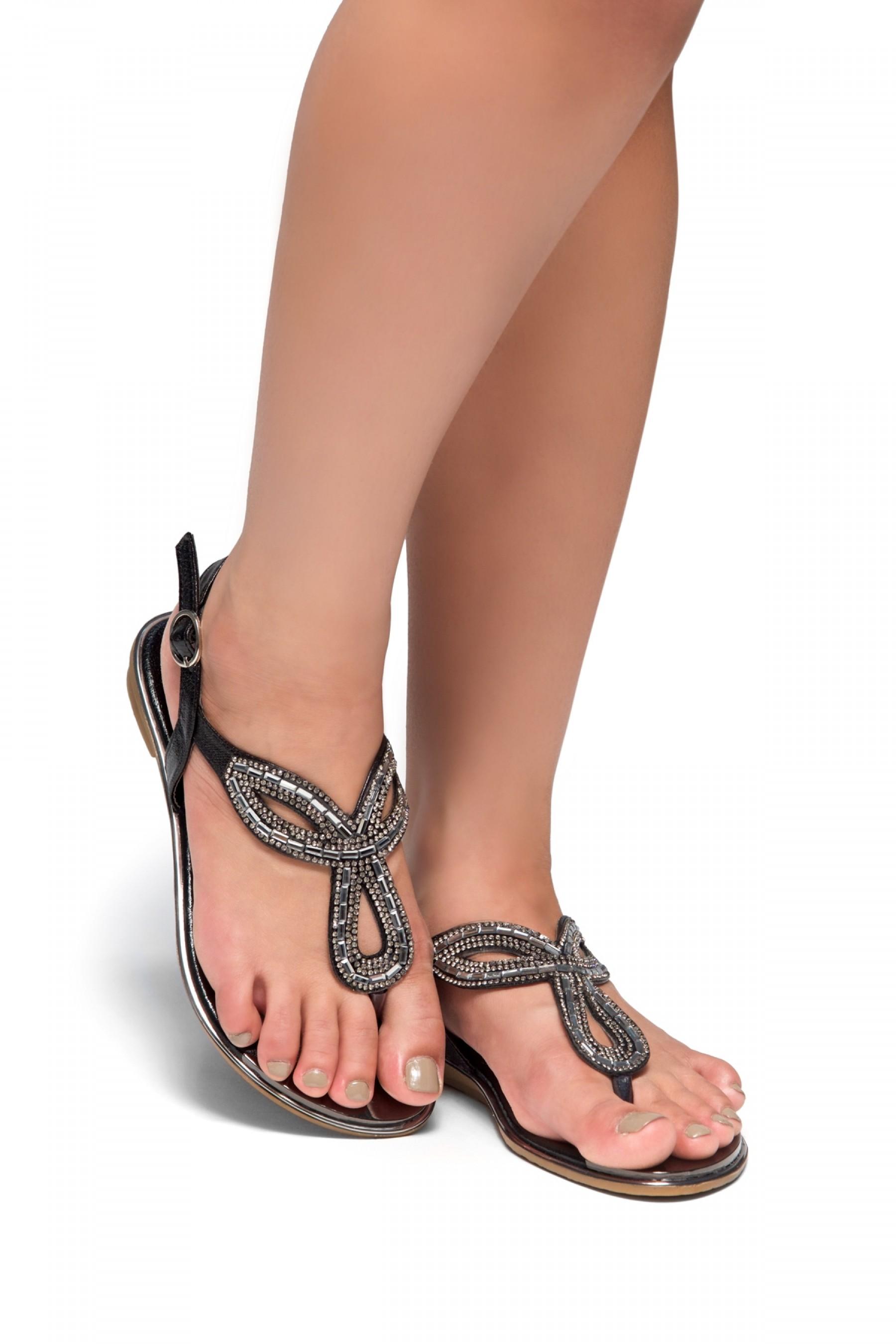 HerStyle Aleani-Rhinestone Thong Flat Sandal (Black)