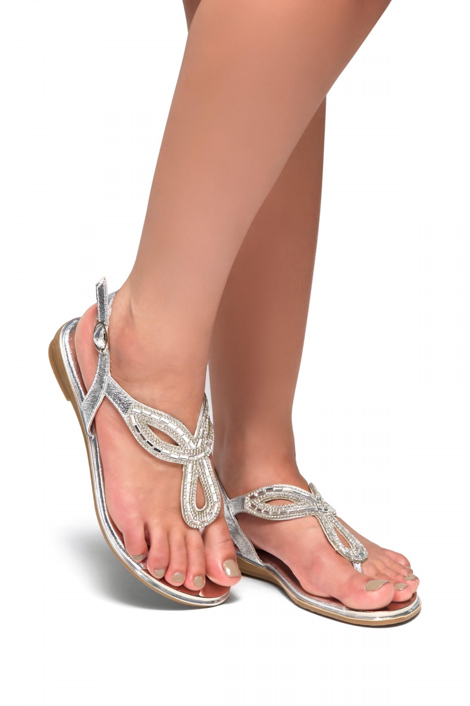 ec2cfd12a599 HerStyle Aleani-Rhinestone Thong Flat Sandal (Silver)