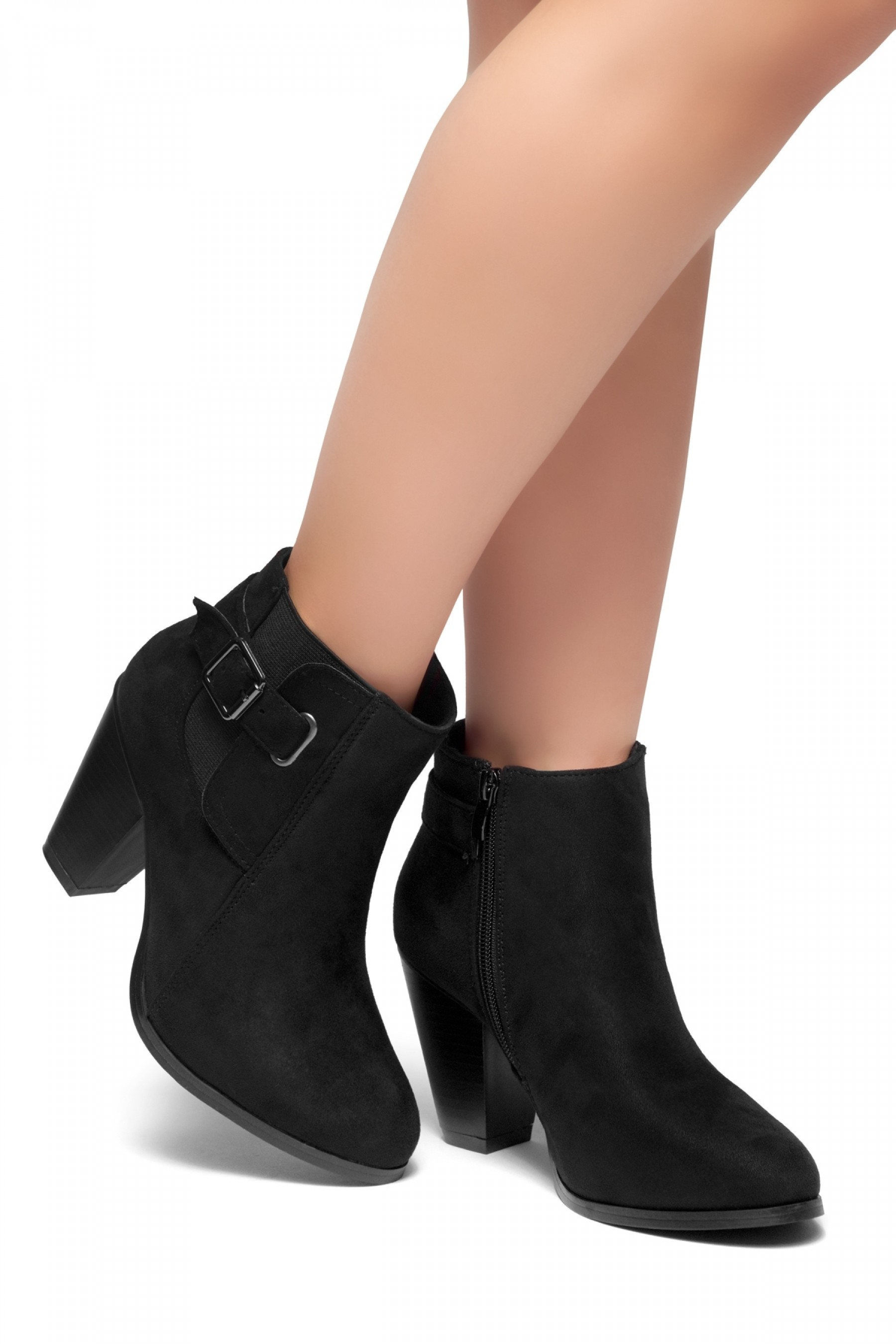 herstyle alenema almont toe stacked heel booties black