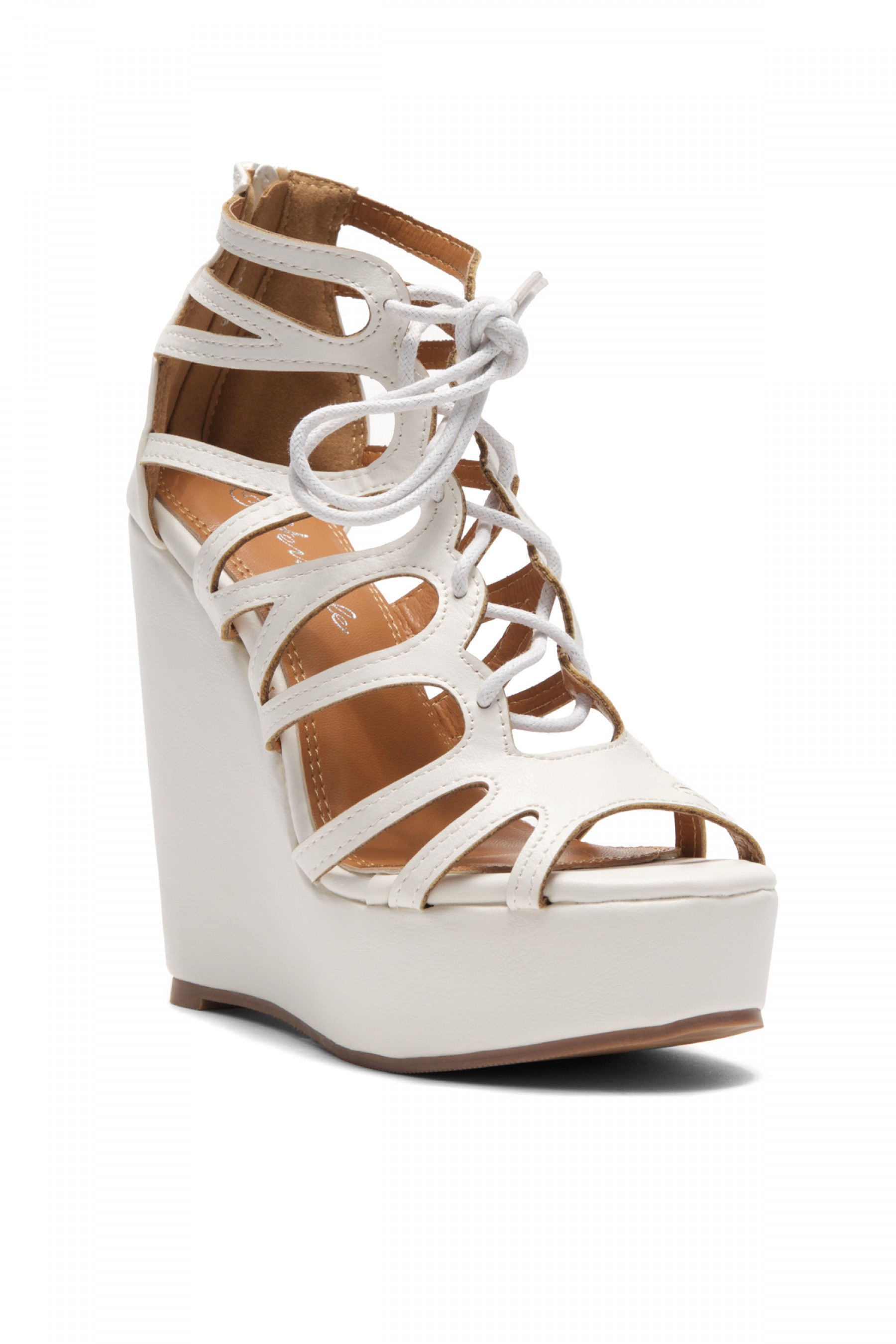 Women's White Alessaa 5-inch Wedge Sandal with Faux Leather Styling