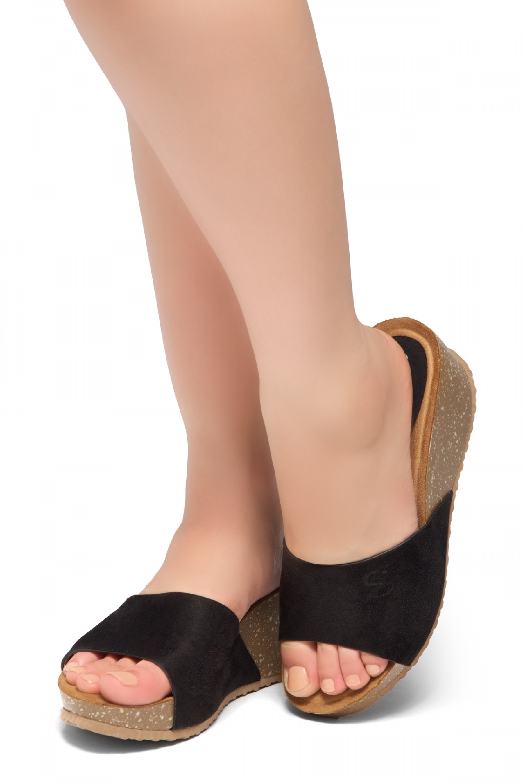 HerStyle Alessia -Open Toe Slide Wedge Sandals (Black)