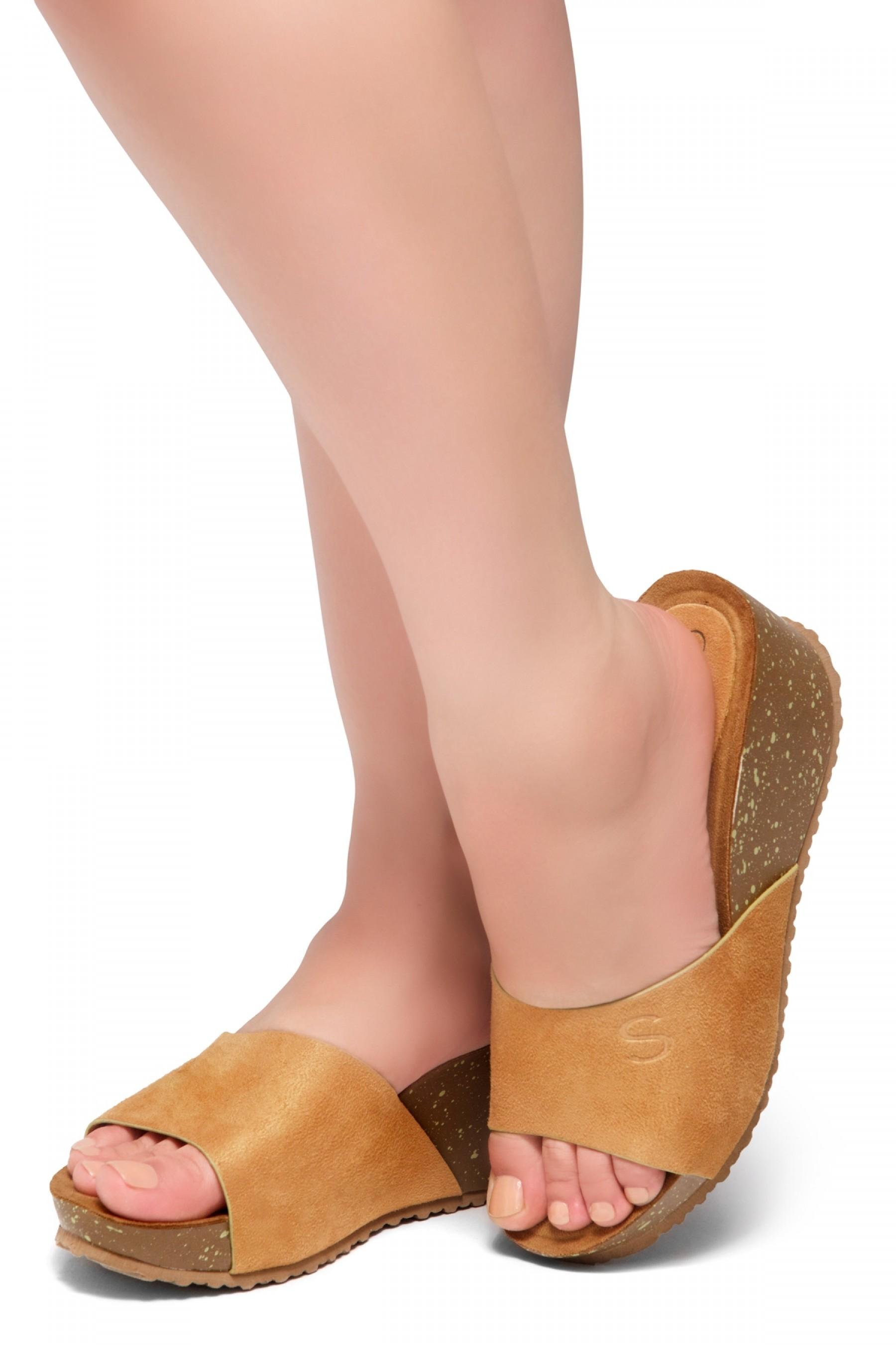 HerStyle Alessia -Open Toe Slide Wedge Sandals (Mustard)