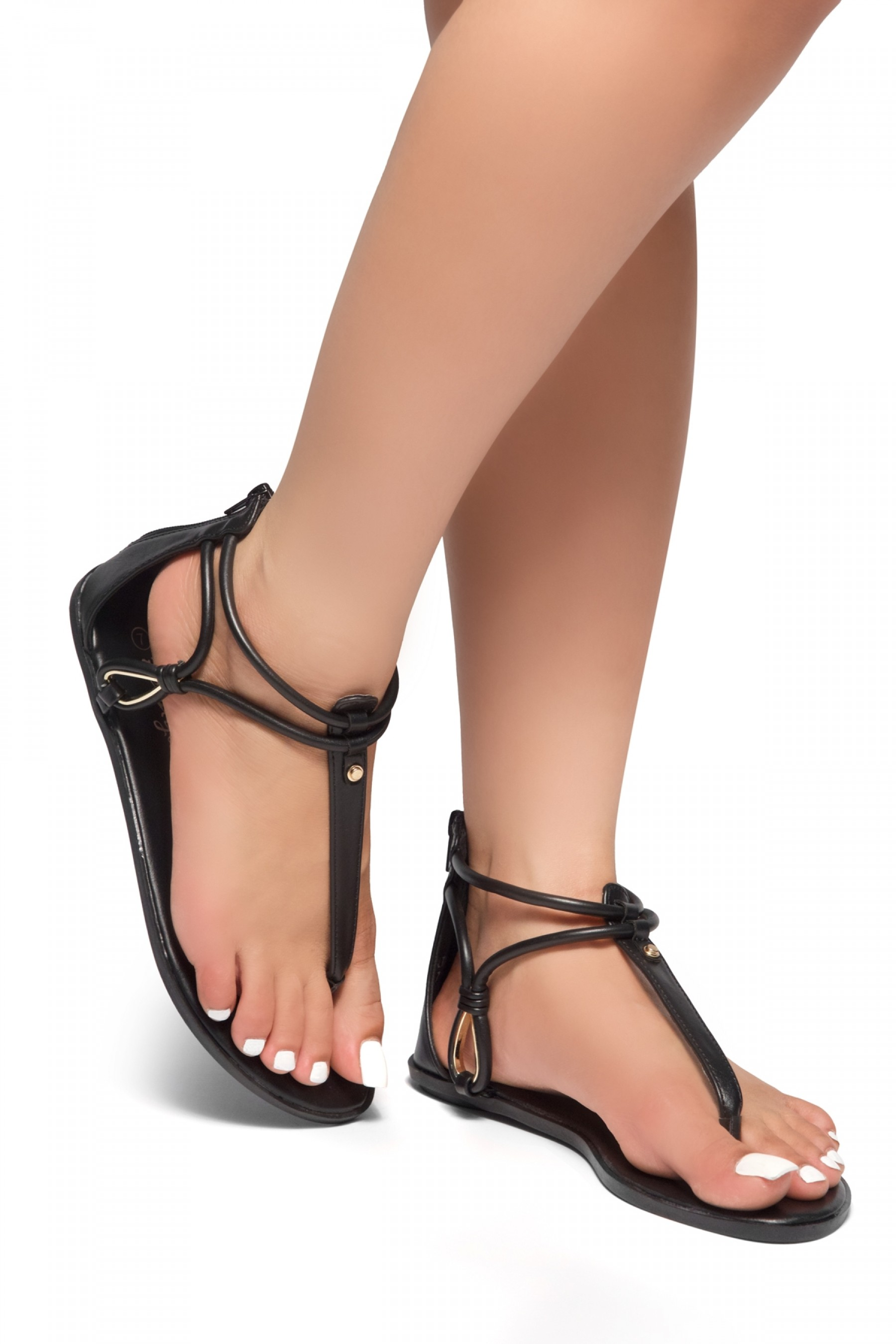 HerStyle Alta – Open Toe T-Strap Thong Sandals with Simple Metallic Stud, Back Closure (Black)