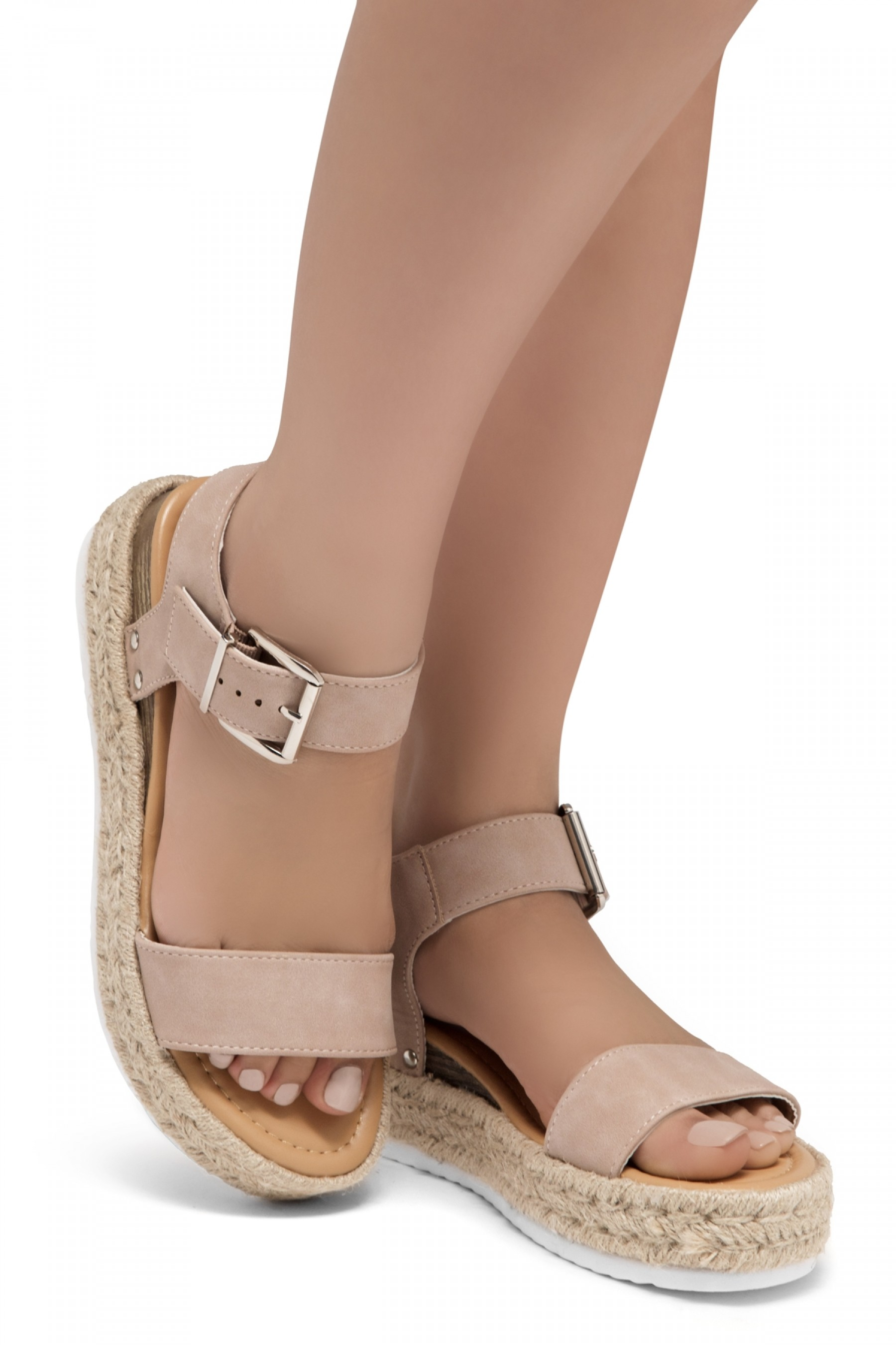 ShoeLand Alysa Womens Open Toe Ankle Strap Platform Wedge Sandals(Mauve)