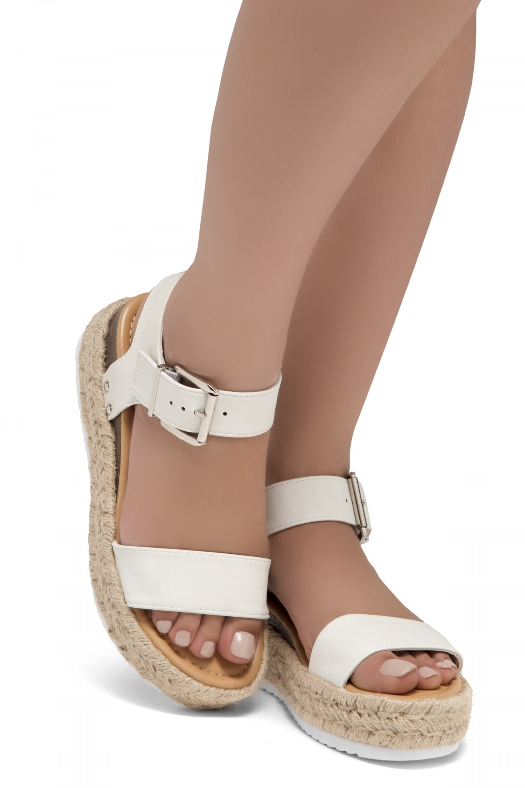 ShoeLand Alysa Womens Open Toe Ankle Strap Platform Wedge Sandals(OffWhite)