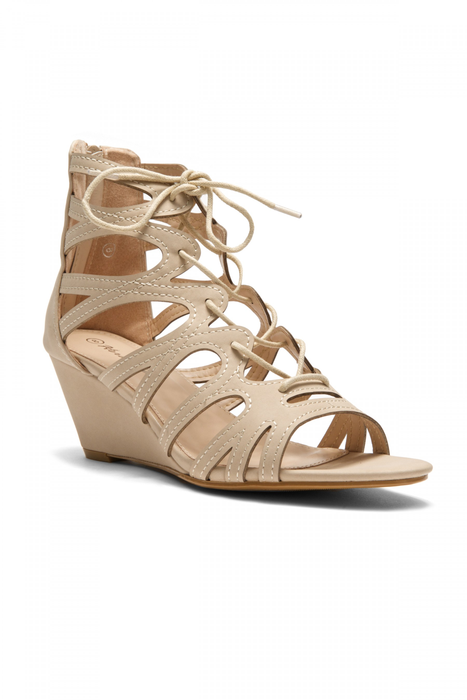 HerStyle Women's Manmade Antella 3-inch Gladiator Style Wedge Sandal with Lace-up Vamp (Nude)