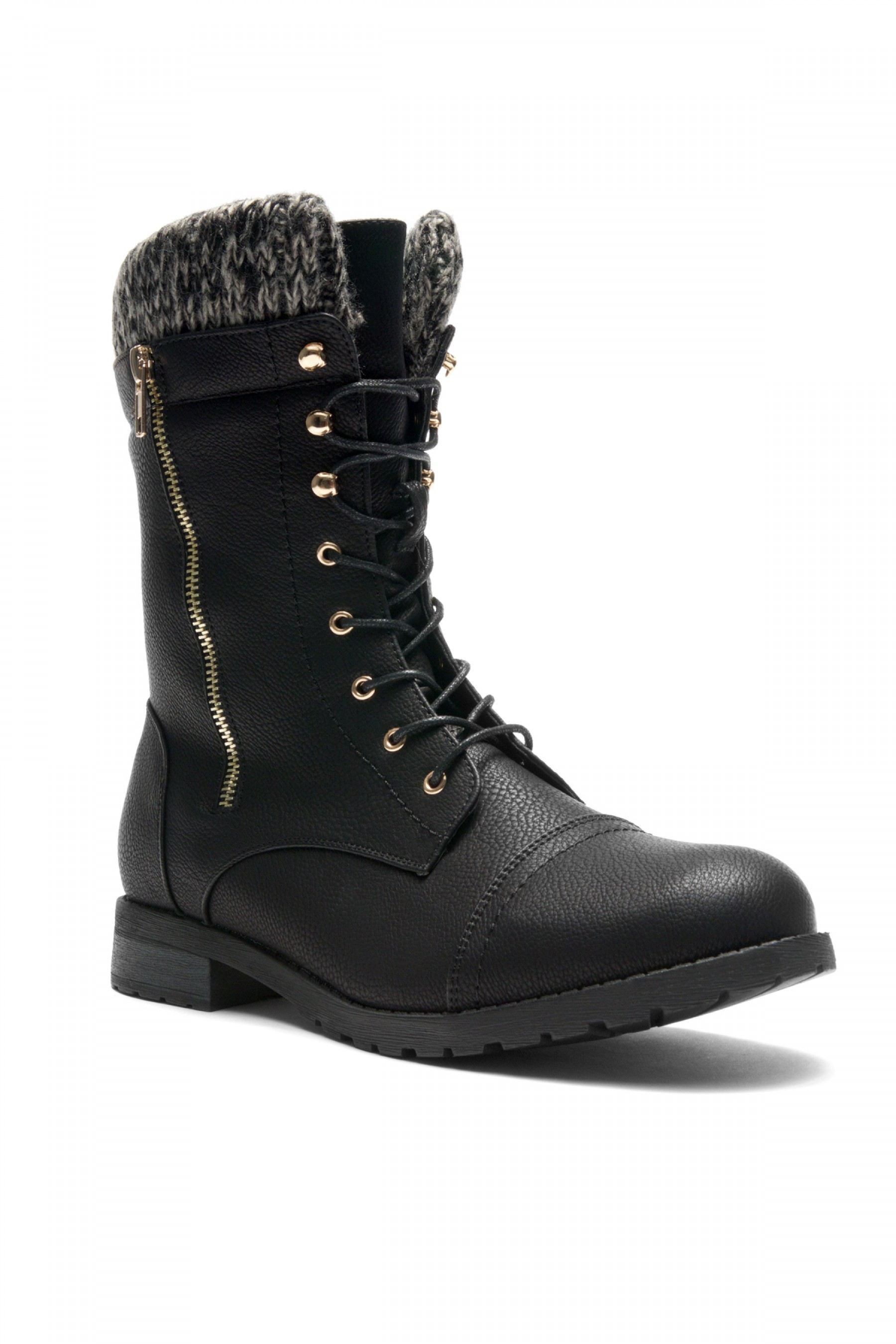 HerStyle Araviia-Lace Up Knit Ankle Cuff Low Heel Combat Boots (Black)