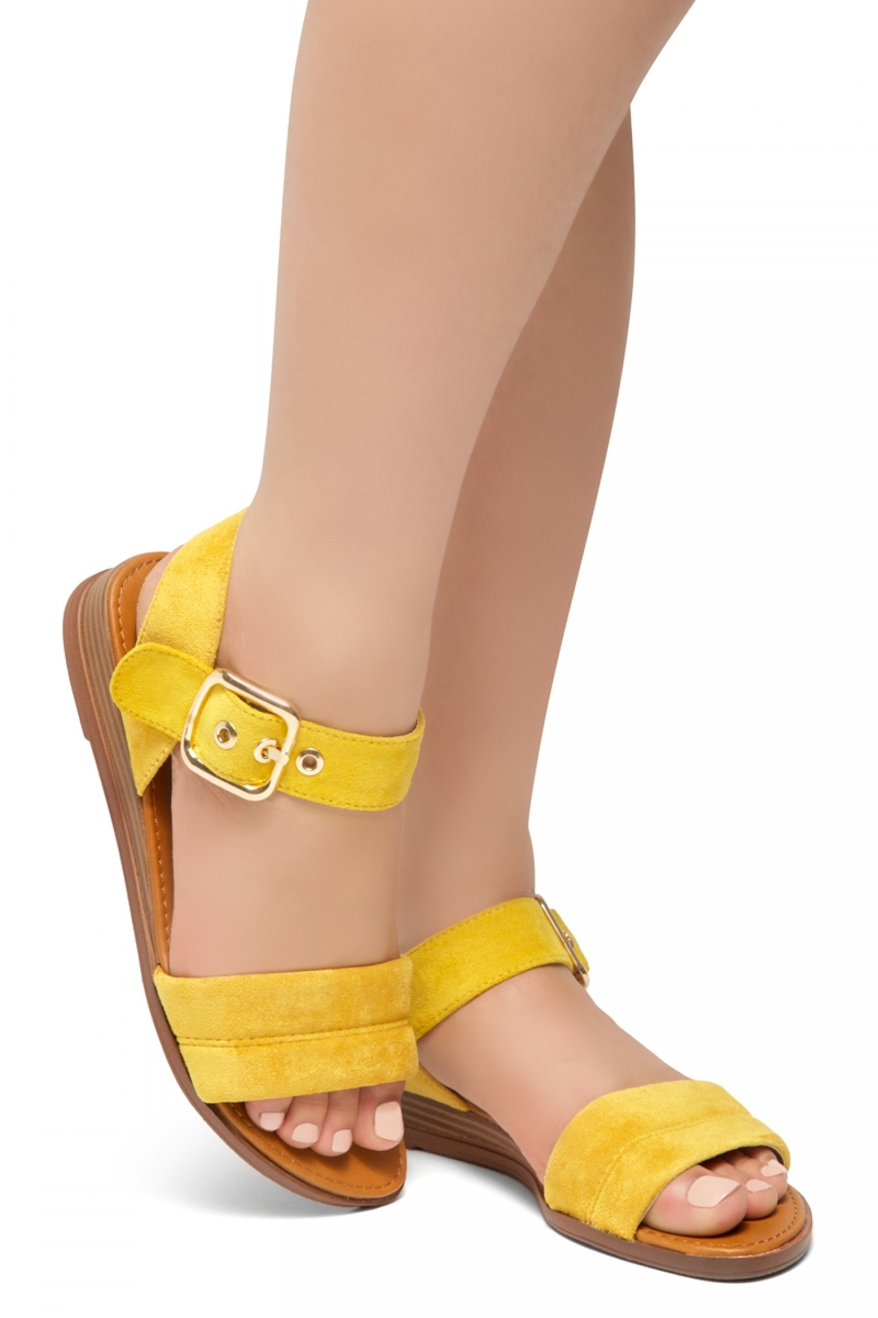 HerStyle Ariella- Simple-Band Vamp Wedge Sandals with Square Buckle (Mustard)