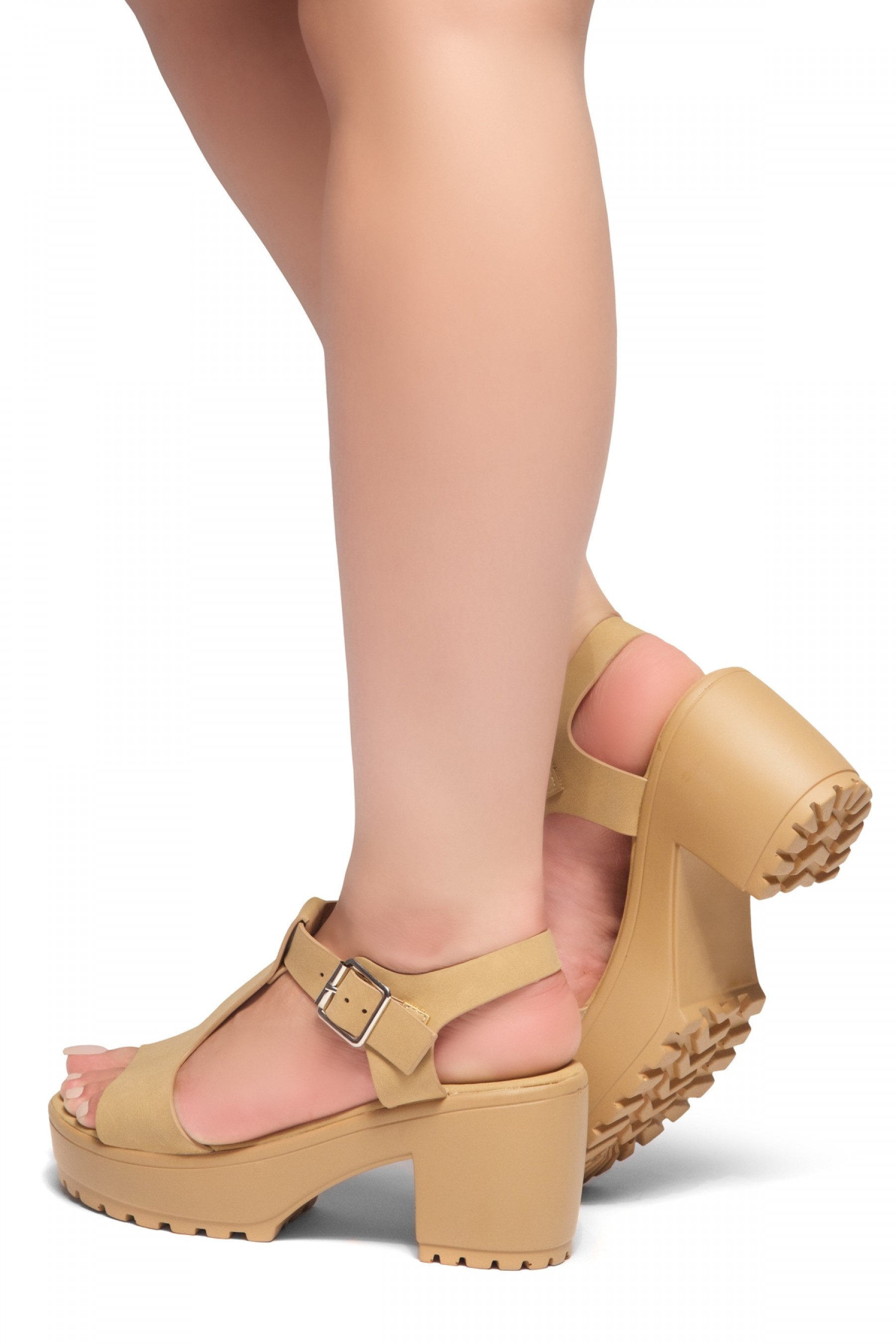 HerStyle Arran-Open Toe Ankle Strap Platform Block Heel (Tan)