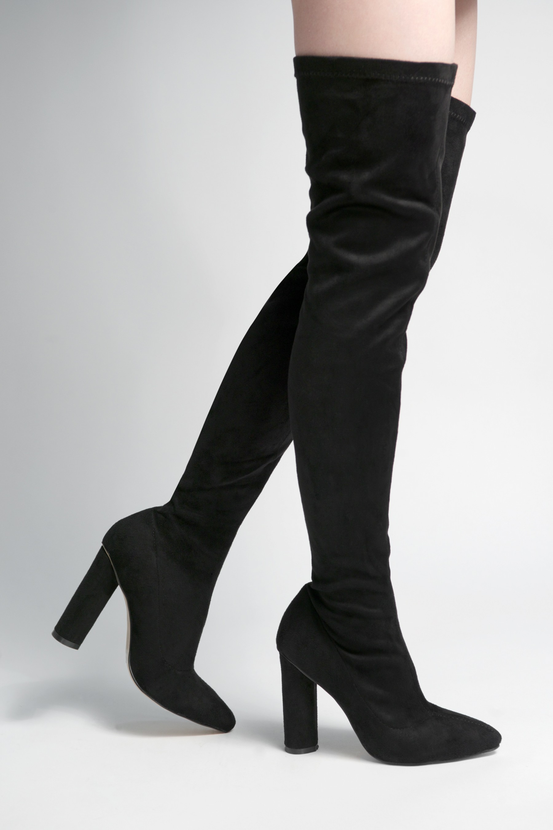 Women's Black Asasadda Pointy Toe Over- The -knee Thigh-hi Boots