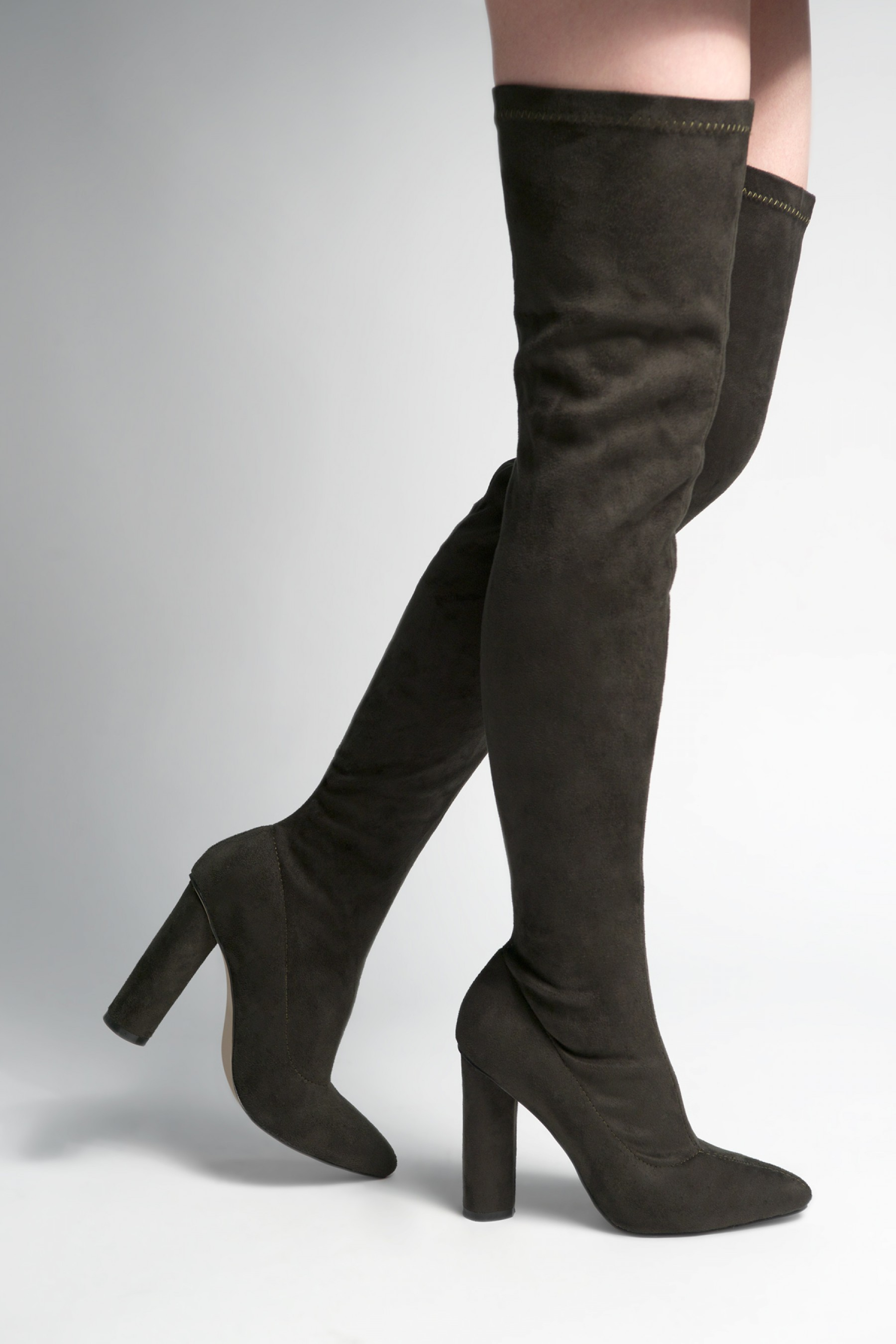 Women's Olive Asasadda Pointy Toe Over- The -knee Thigh-hi Boots