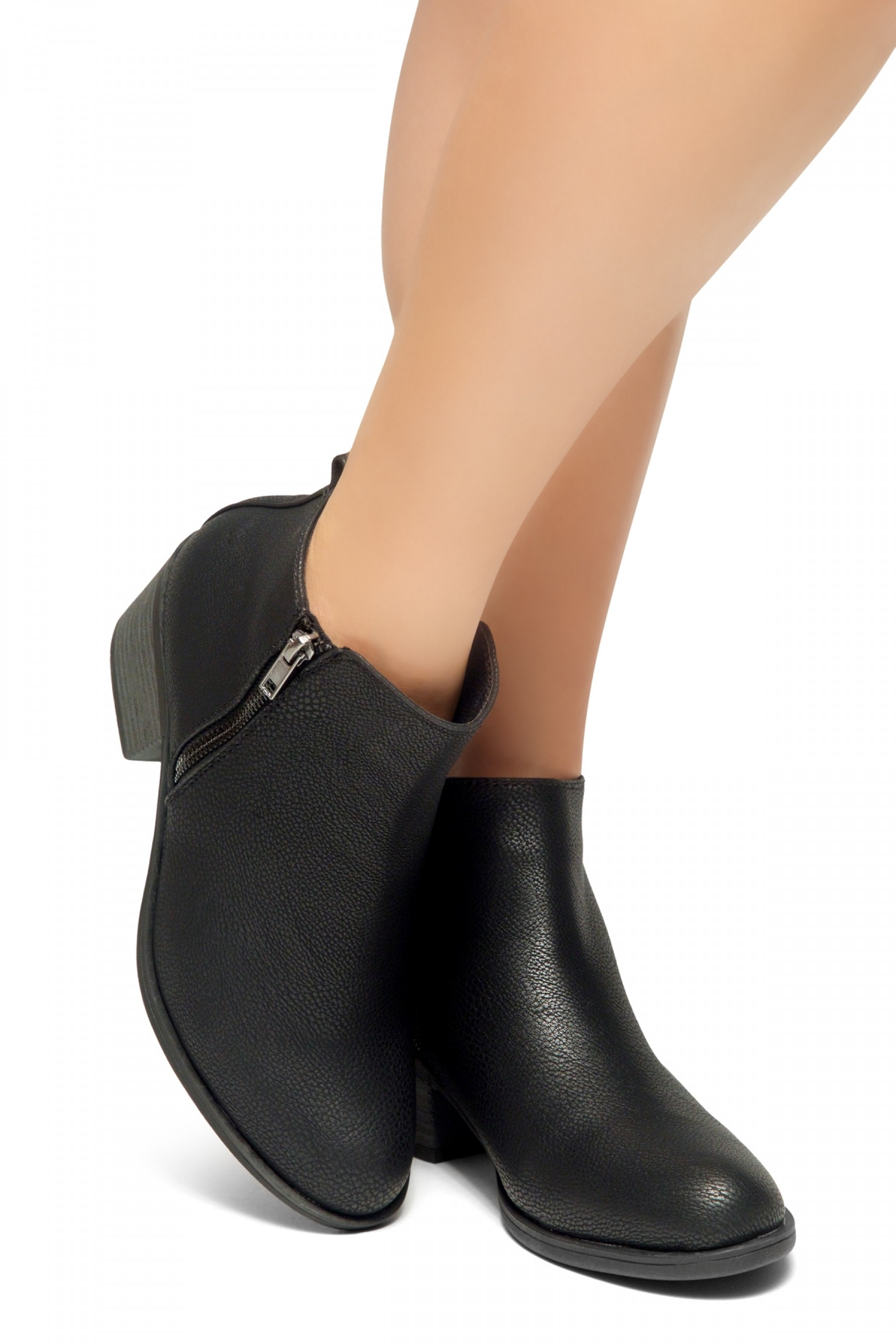 HerStyle Ashlyn Women's Western Ankle Bootie Closed Toe Casual Low Stacked Heel Boots (Black)