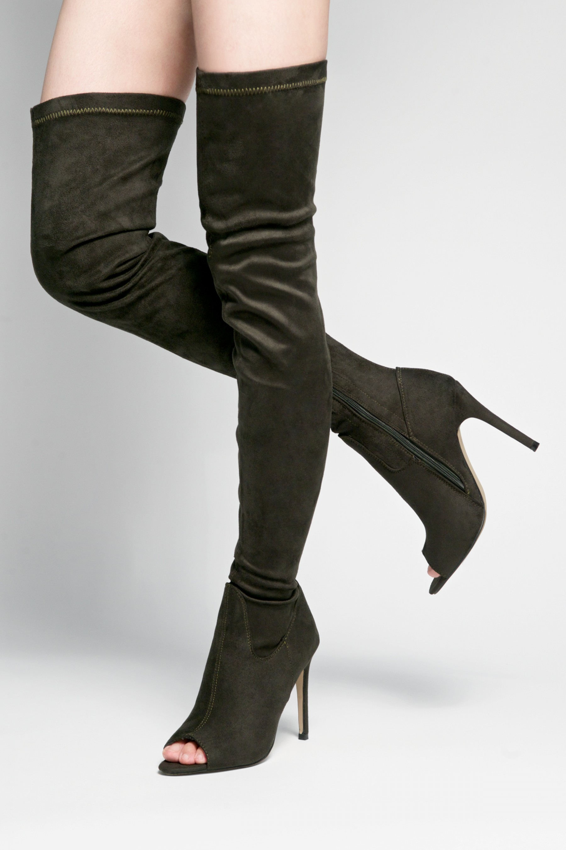 HerStyle Avery peep toe, thigh high, stiletto heel