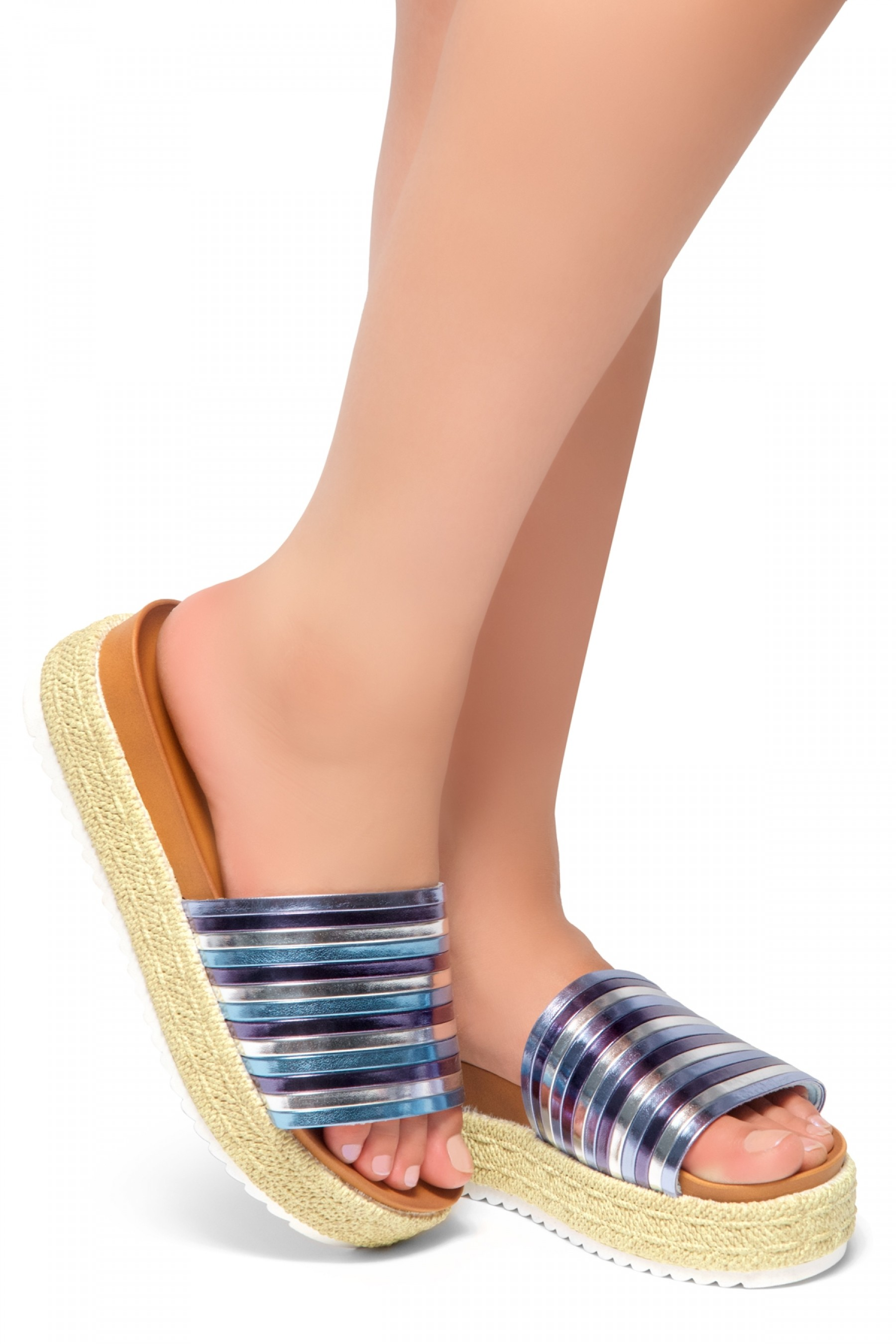 HerStyle Beast Coast-Multi Colors Vamp Platform Open Toe Slide Sandal (BlueMulti)