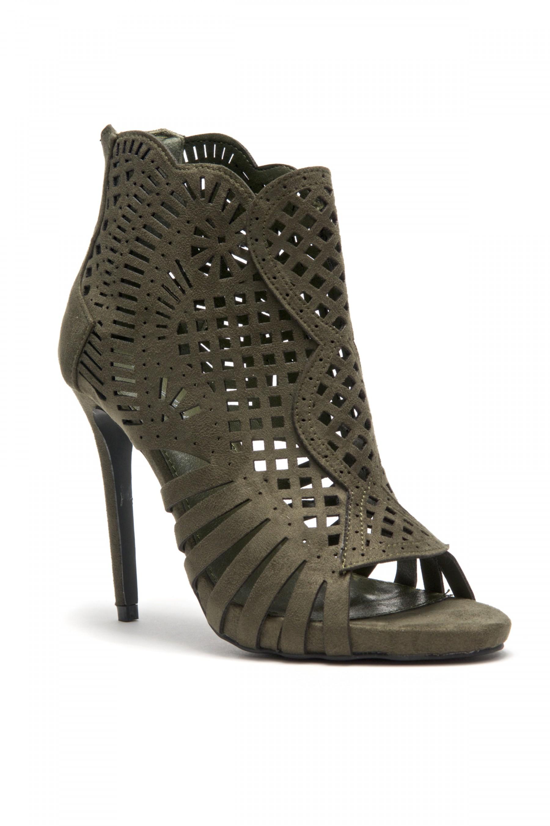 HerStyle Women's Manmade Belidda  a peep toe, stiletto heel, lacer cutter design - Olive