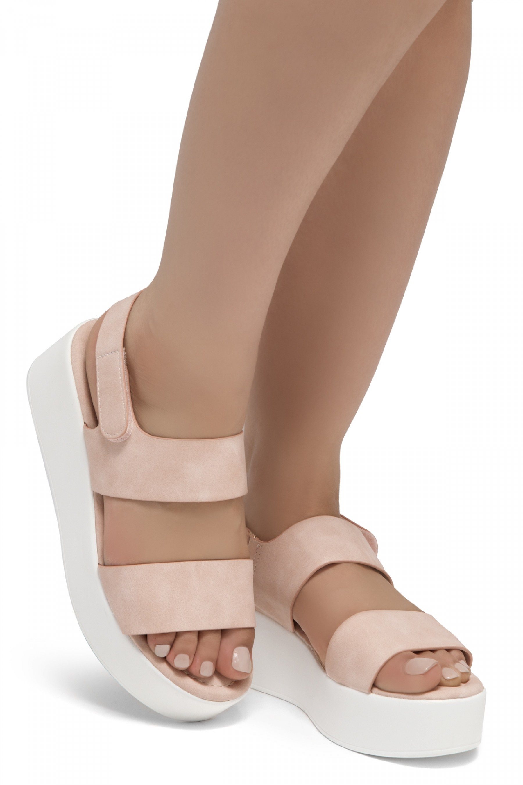 HerStyle Belma- Open Toe Velcro Strap Double-Banded Vamp with Platform Wedge (Blush)