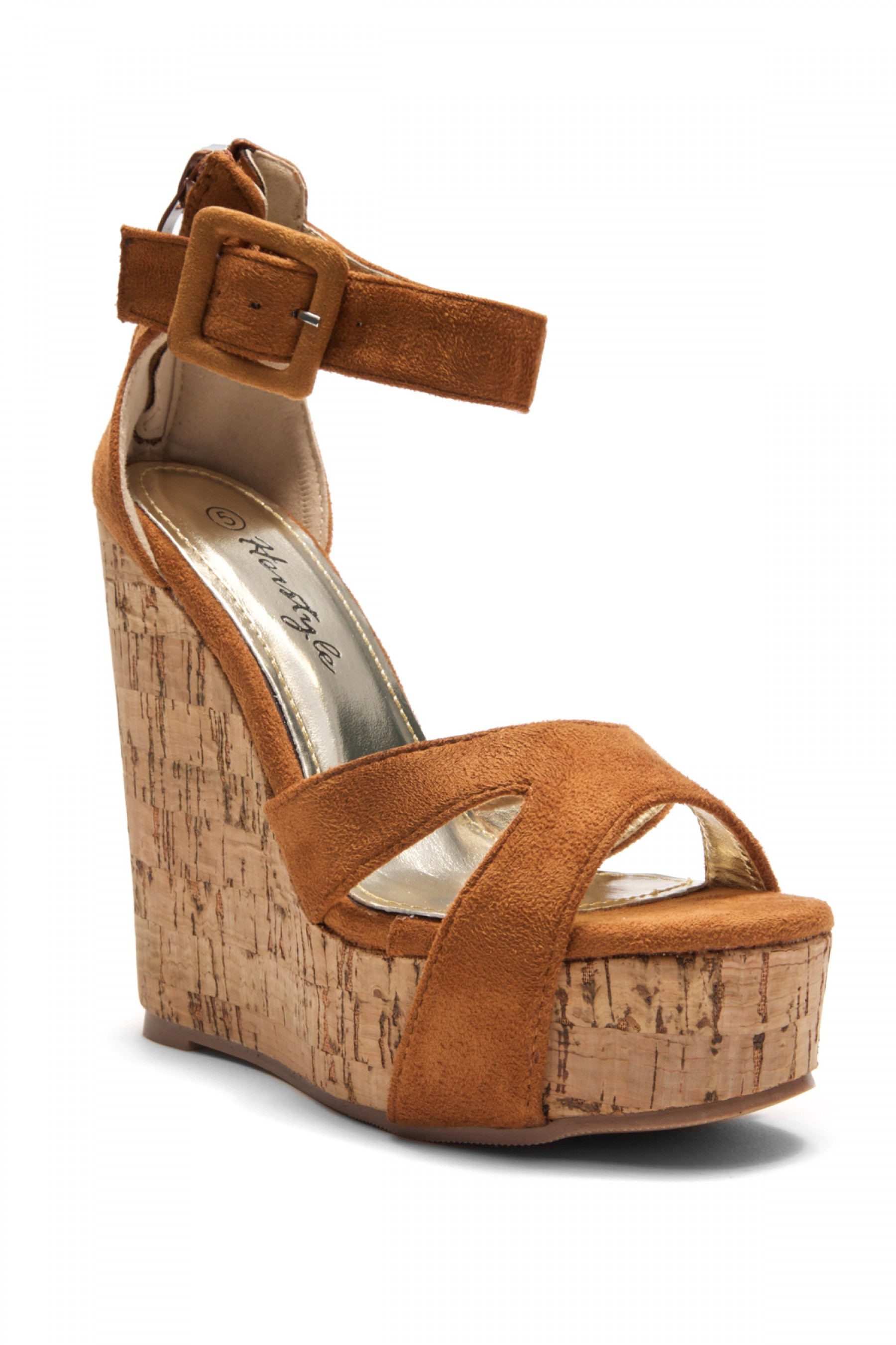 Women s Cognac Manmade Brenee 6-inch Cork Wedge Sandals with ...