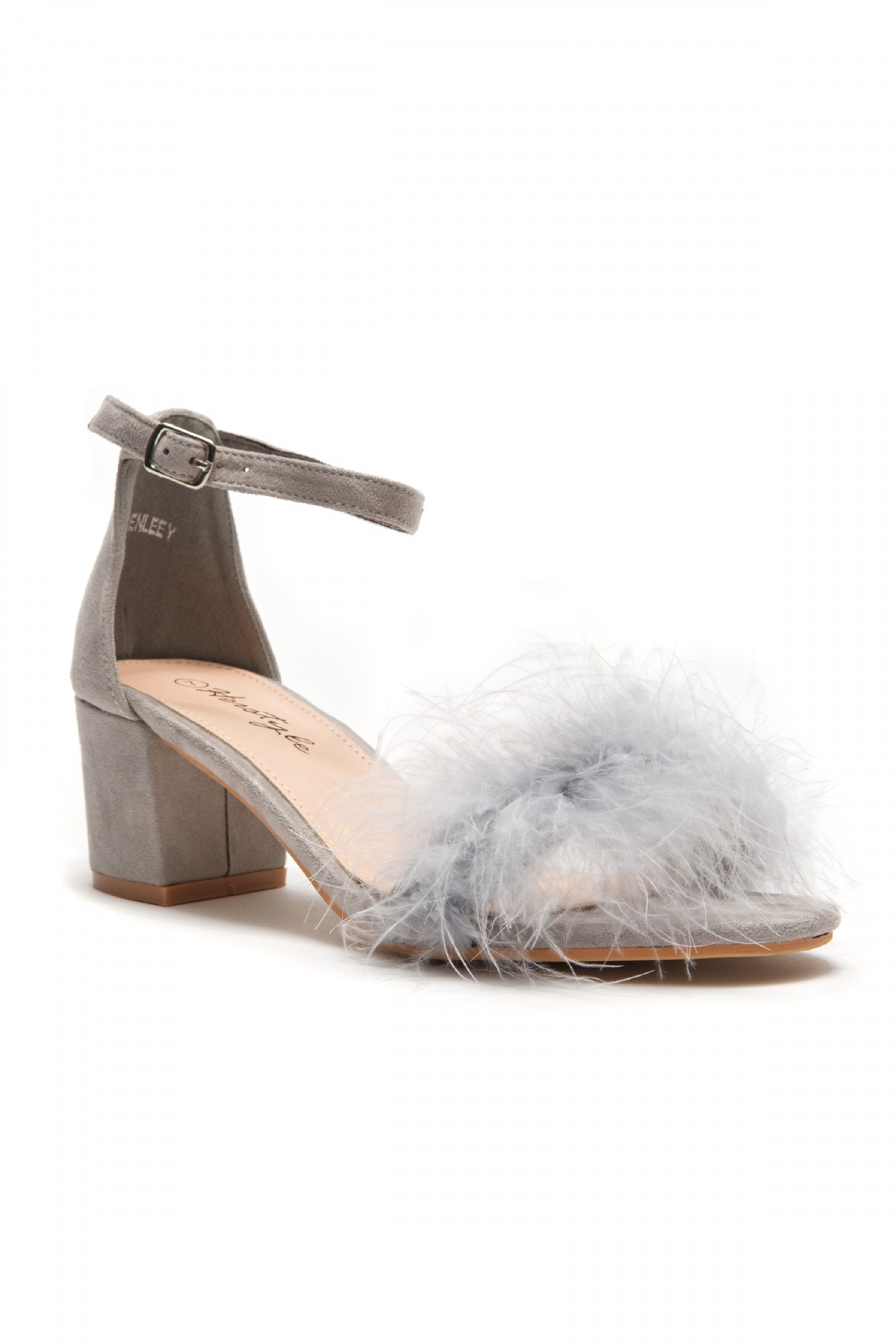 HerStyle Women's Manmade Brenleey Suede Faux Feather Accent Ankle Strap Low Chunky Heel Sandal - Grey