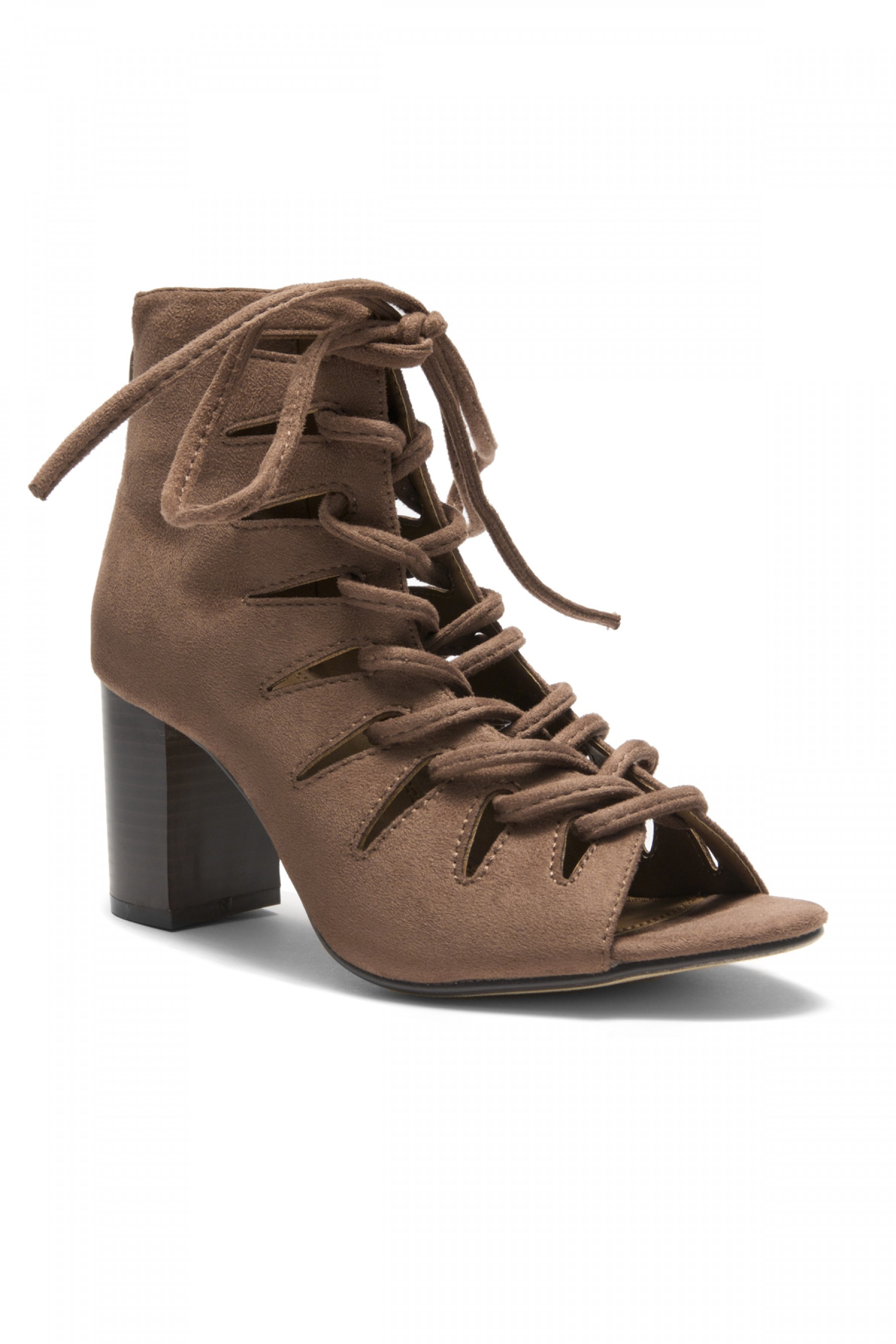 HerStyle  Bvilla Caged Lace-Up Chunky Heel Booties (Khaki)