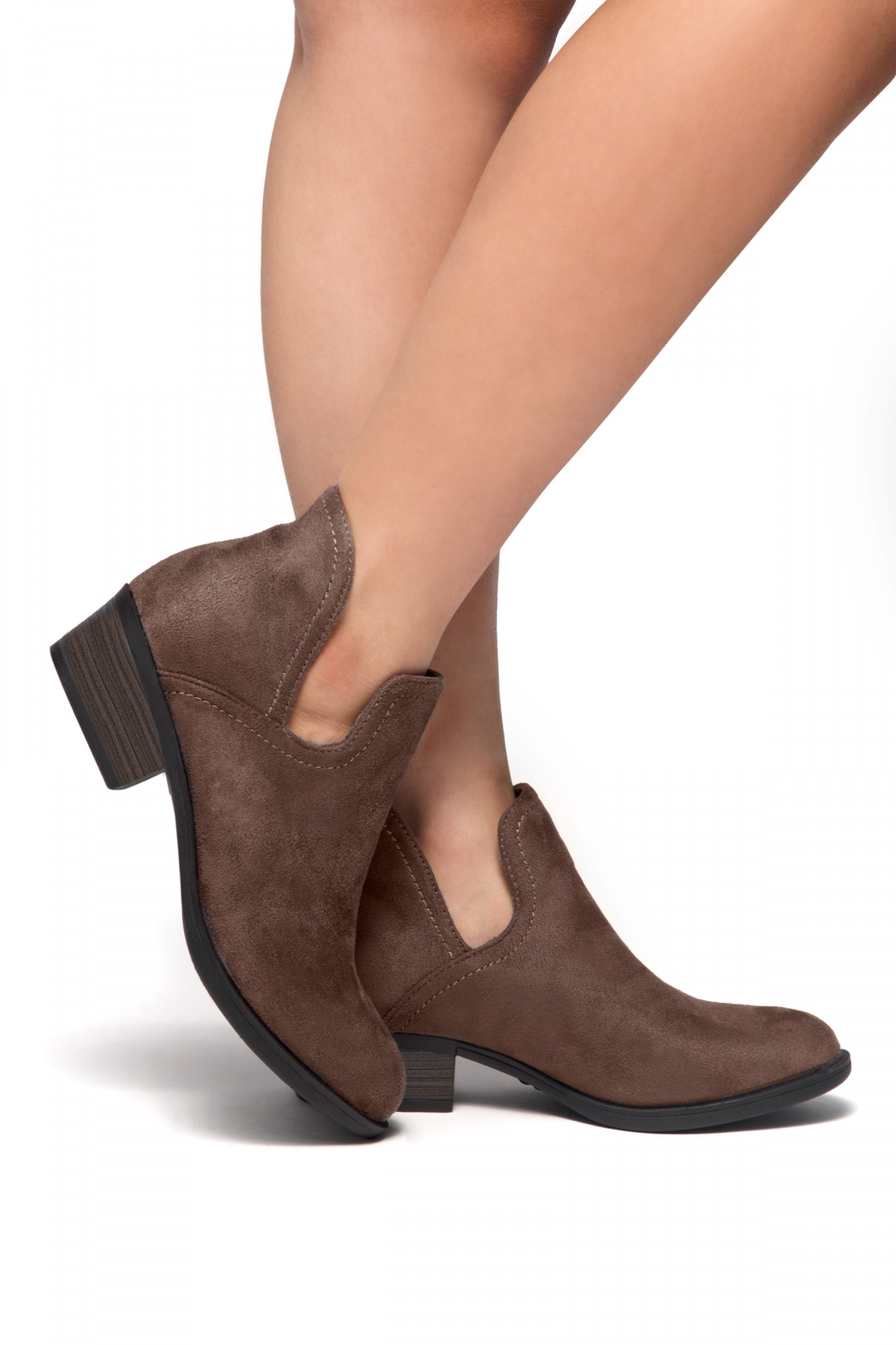 HerStyle Cabbe-Almond toe, stacked heel (Khaki)