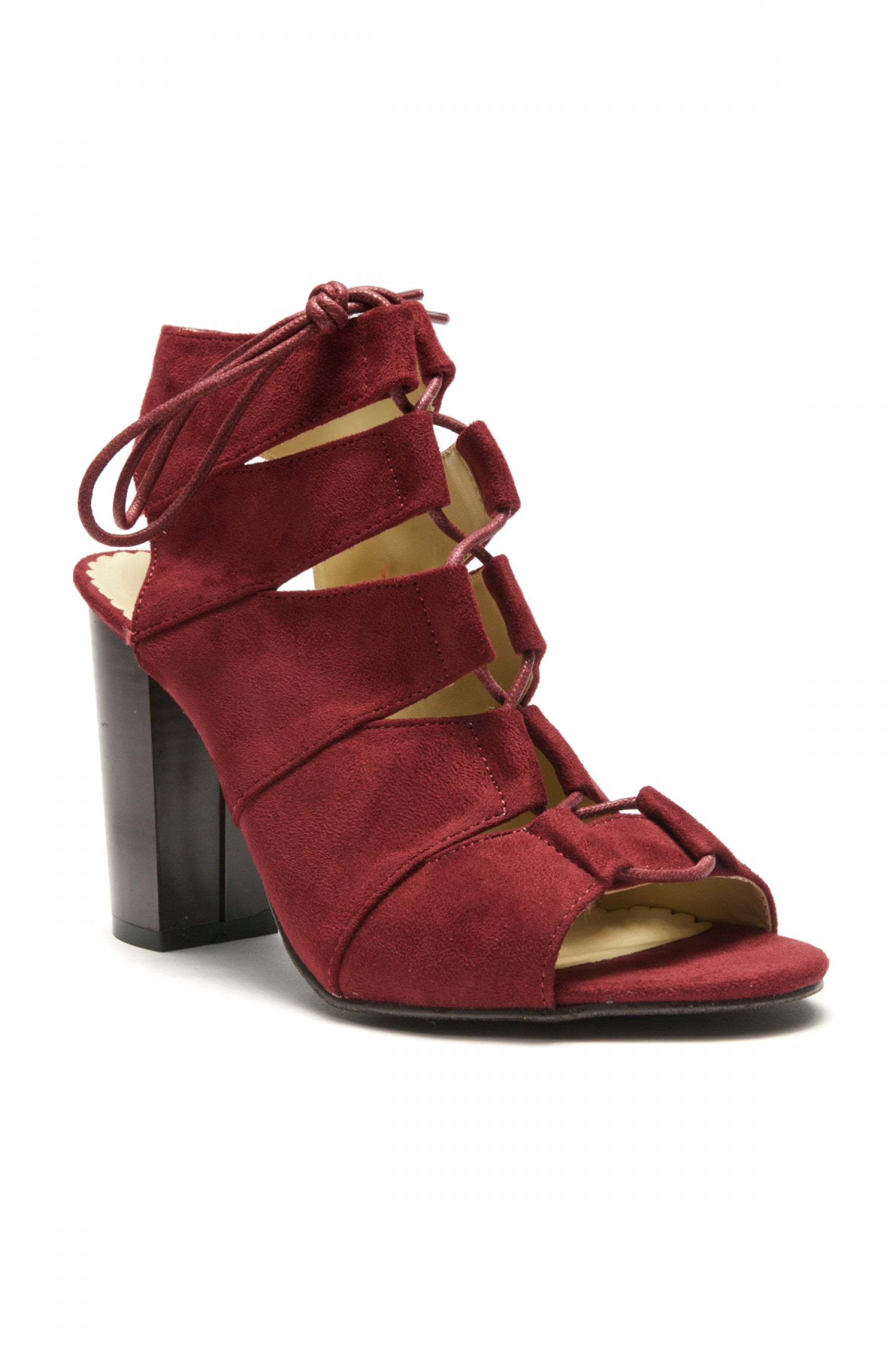 HerStyle Carnibbi open toe, chunky heel, a gladiator inspired strappy with front lace-up (Burgundy)