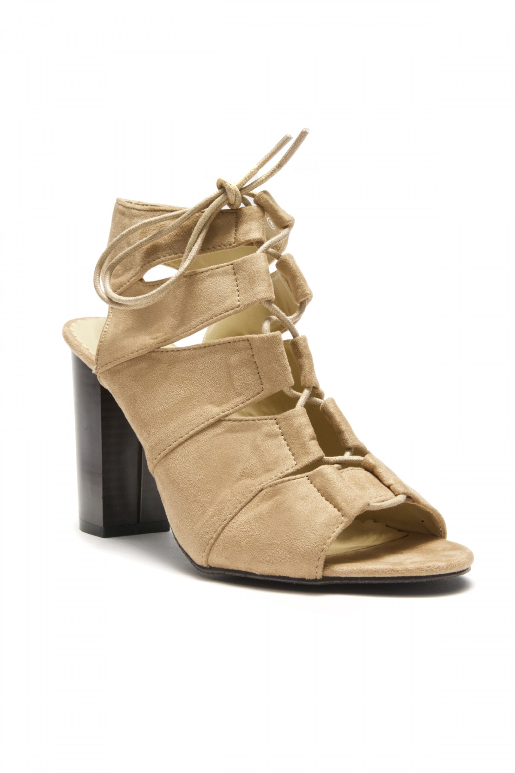 HerStyle Carnibbi open toe, chunky heel, a gladiator inspired strappy with front lace-up (Tan)