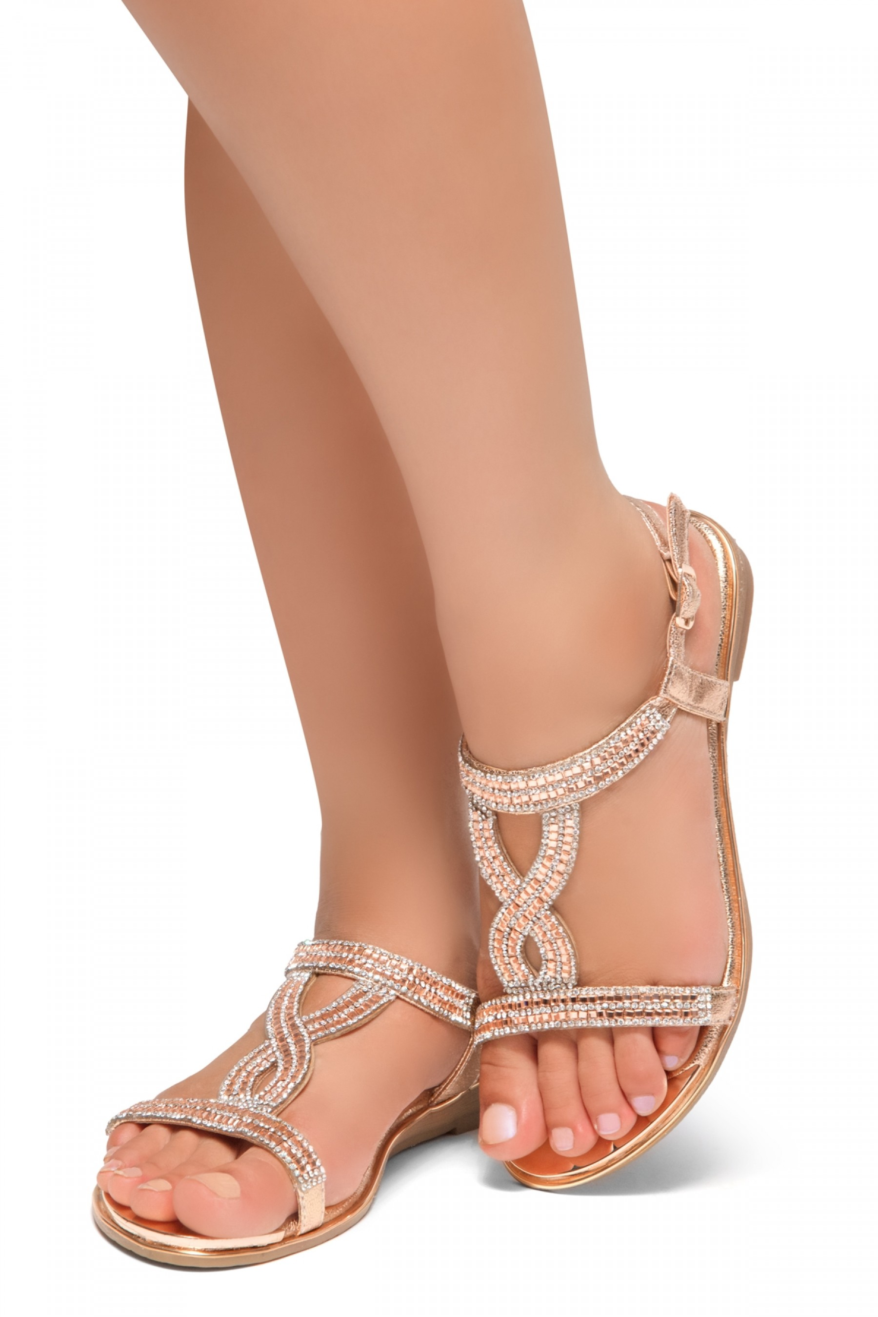 HerStyle Caterinnaa-Rhinestone Details, Open Toe, Open Back Sandals (RoseGold)