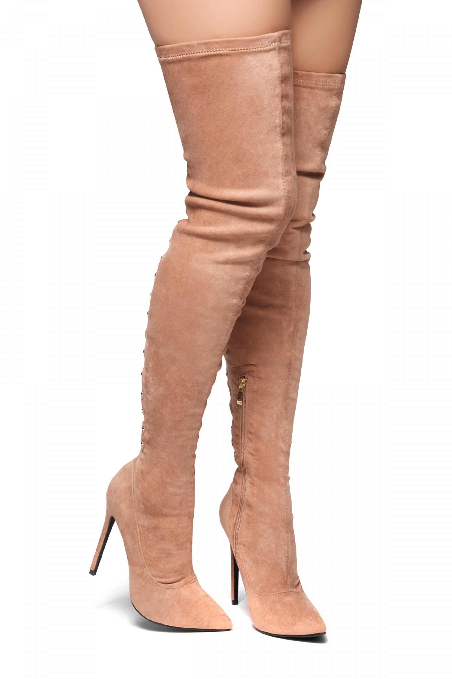 HerStyle Cessi-Stiletto heel, Thigh high, nail head detail (Mauve)