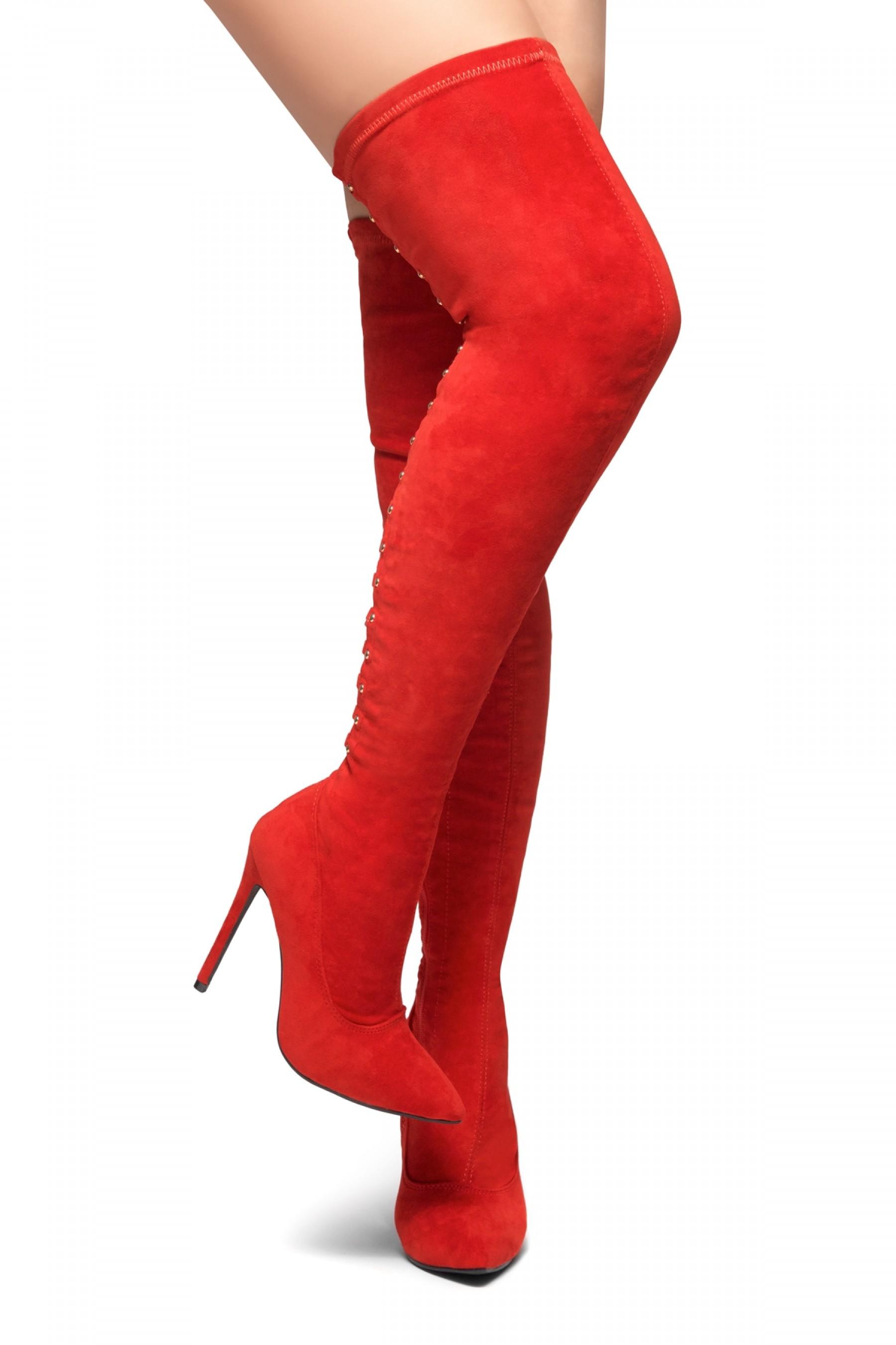 HerStyle Cessi-Stiletto heel, Thigh high, nail head detail (Red)