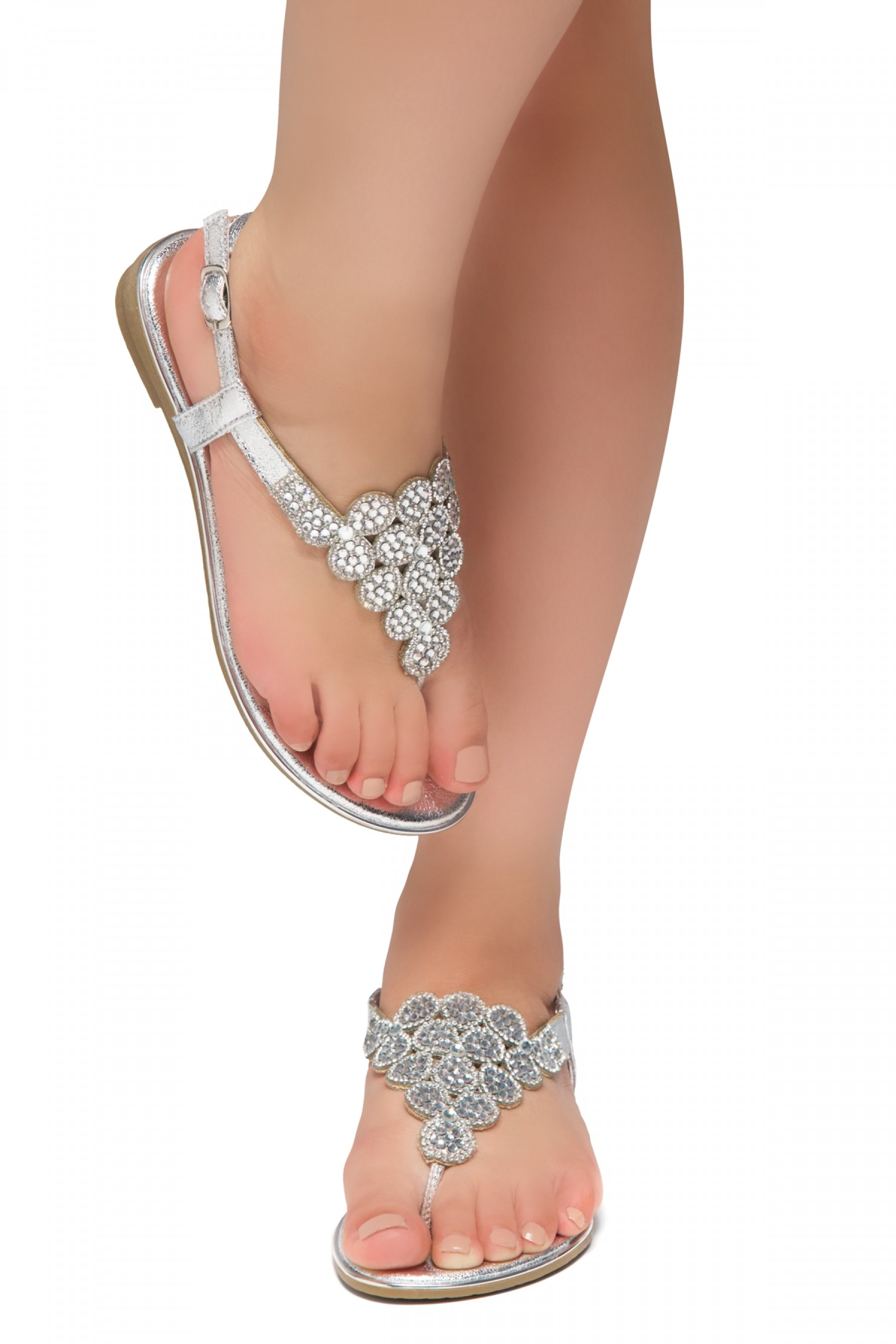 HerStyle Charlee- Thong Sandals with Patterned Jeweled Vamp (Silver)