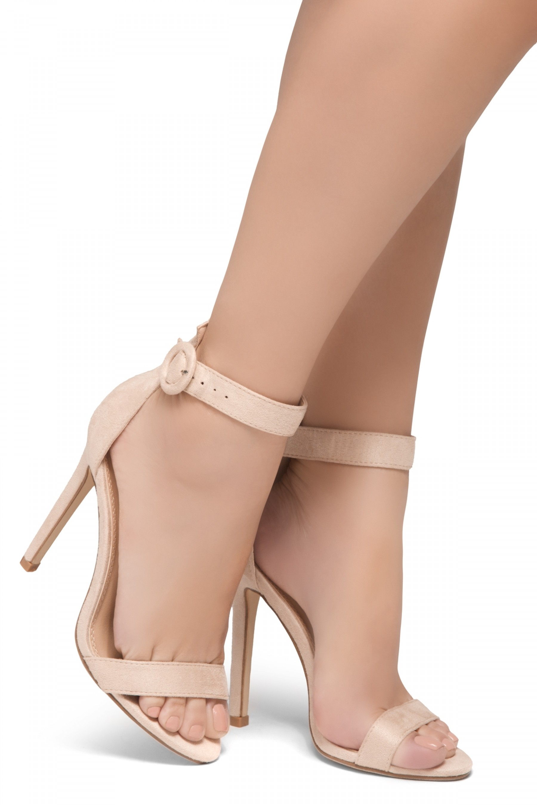 Shoe Land Charming- Ankle Strap Rounded Buckle Open Toe Stiletto Heel (Beige)
