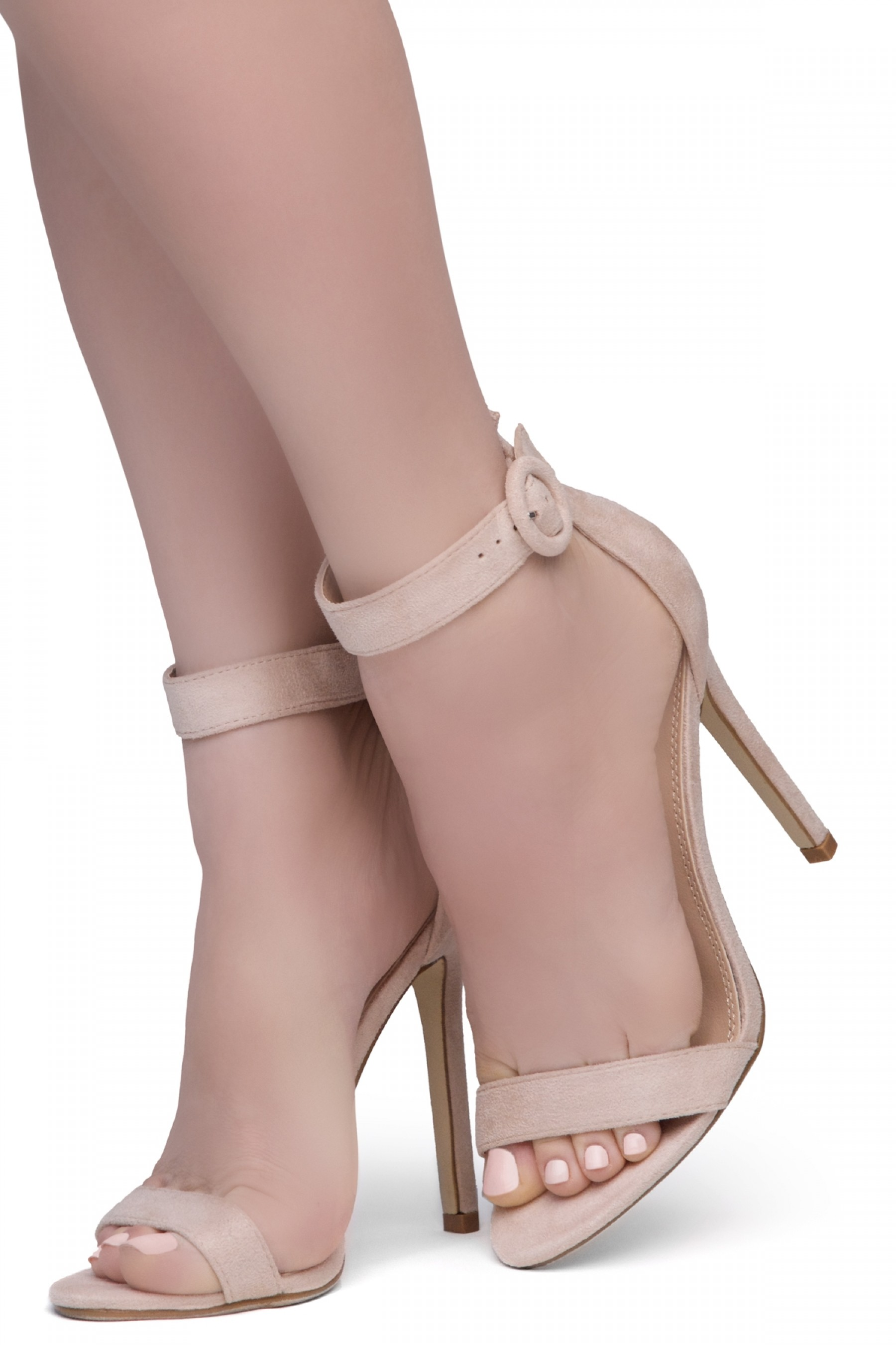 Shoe Land Charming- Ankle Strap Rounded Buckle Open Toe Stiletto Heel (Nude)