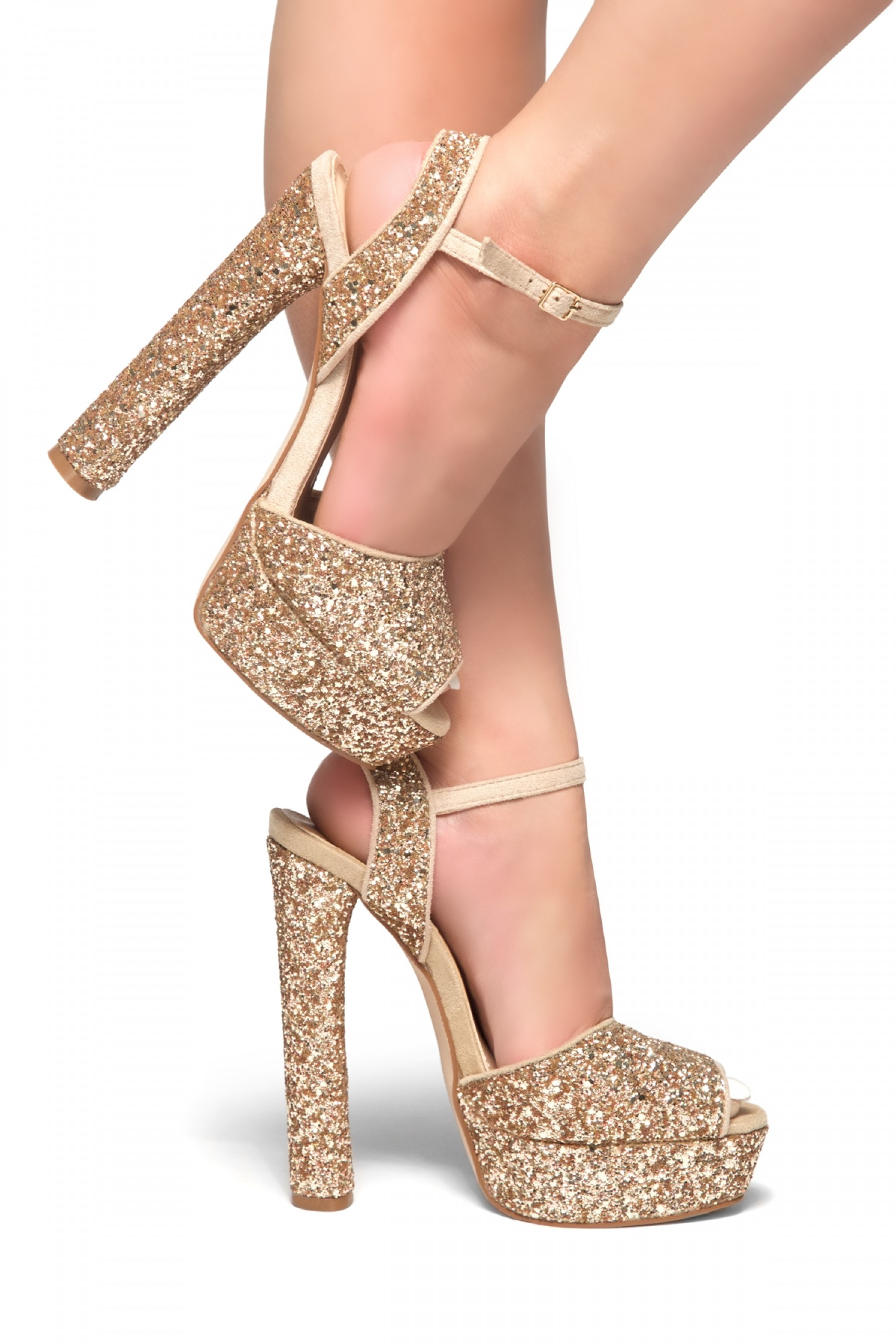 CHASITY-Peep Toe Platform Heel in Glitter (Rose Gold Glitter)