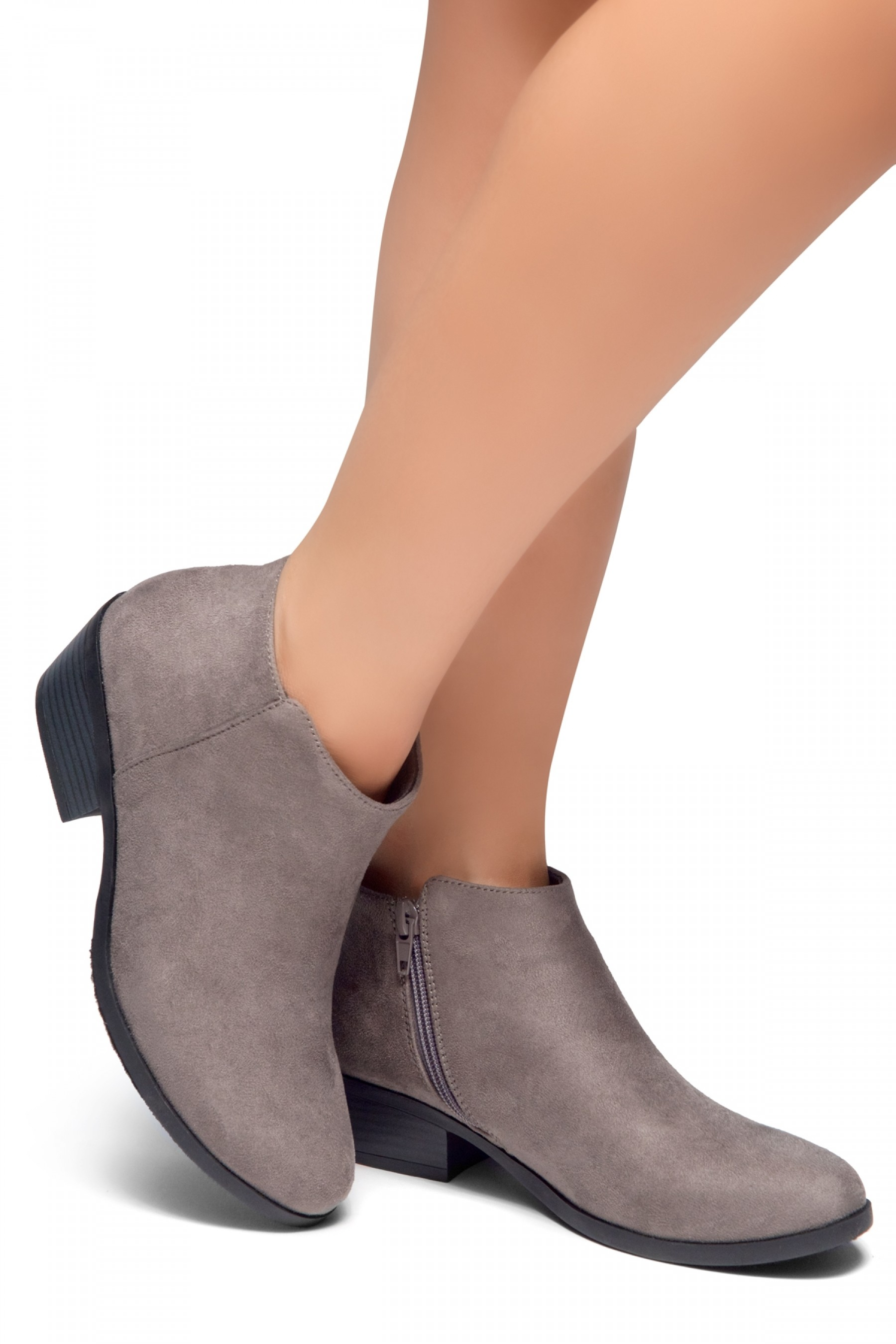 HerStyle Chatter- Low Stacked Heel Almond Toe Booties (Grey)