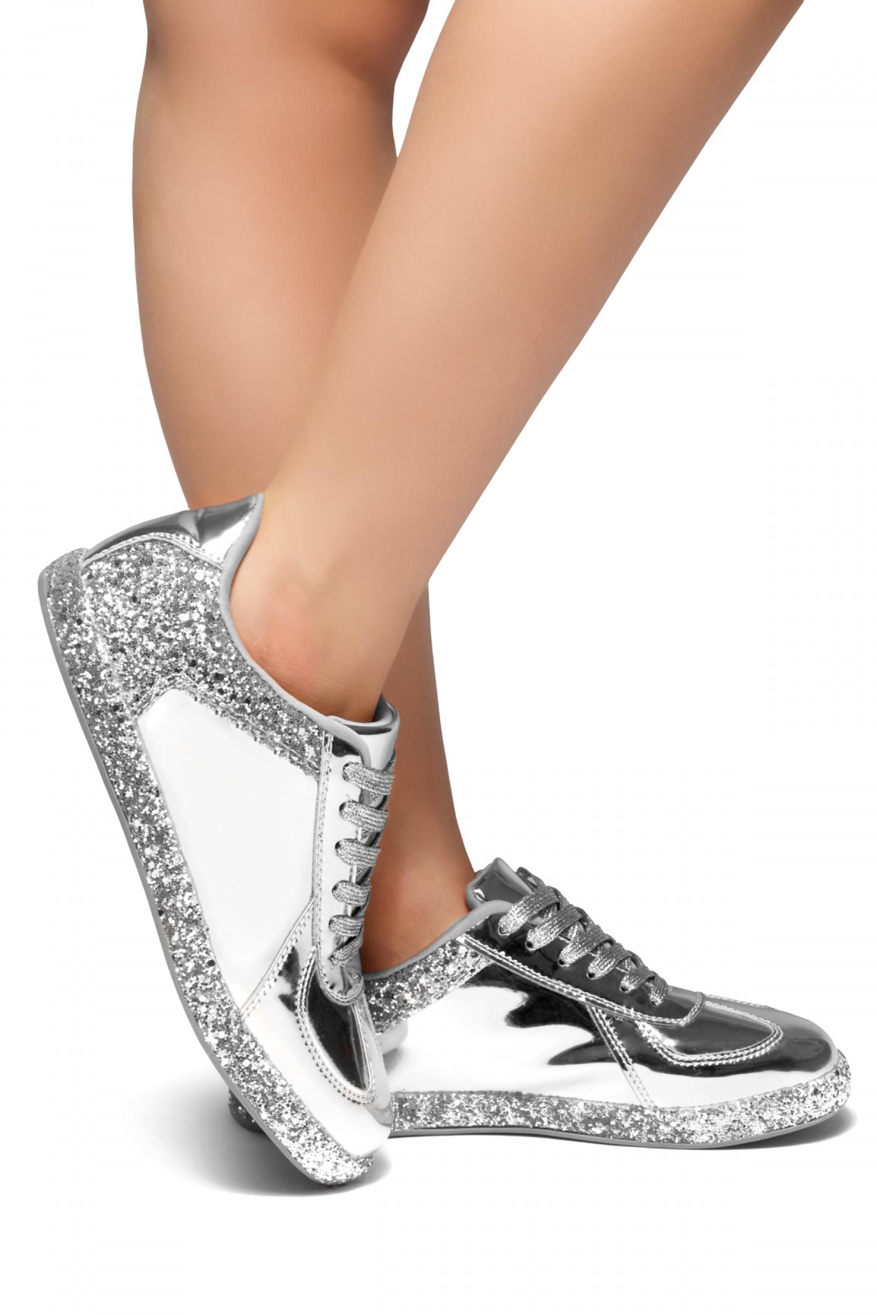 0854318b372e HerStyle City Glitz-Glitter sneaker with lace (Silver)