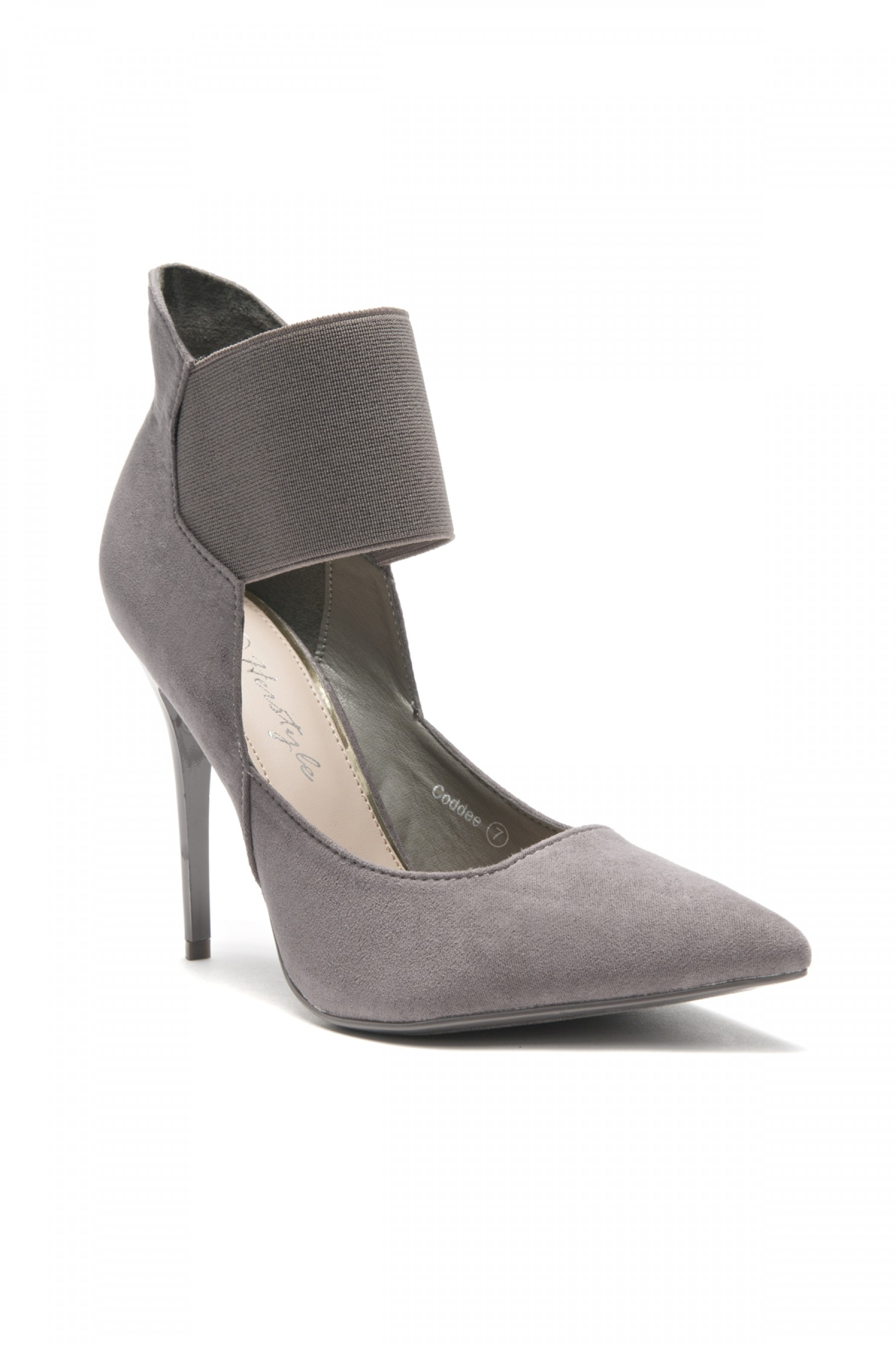 HerStyle Coddee Faux Suede ankle with elasticated strap Pointy Toe Stiletto Pump (Grey)