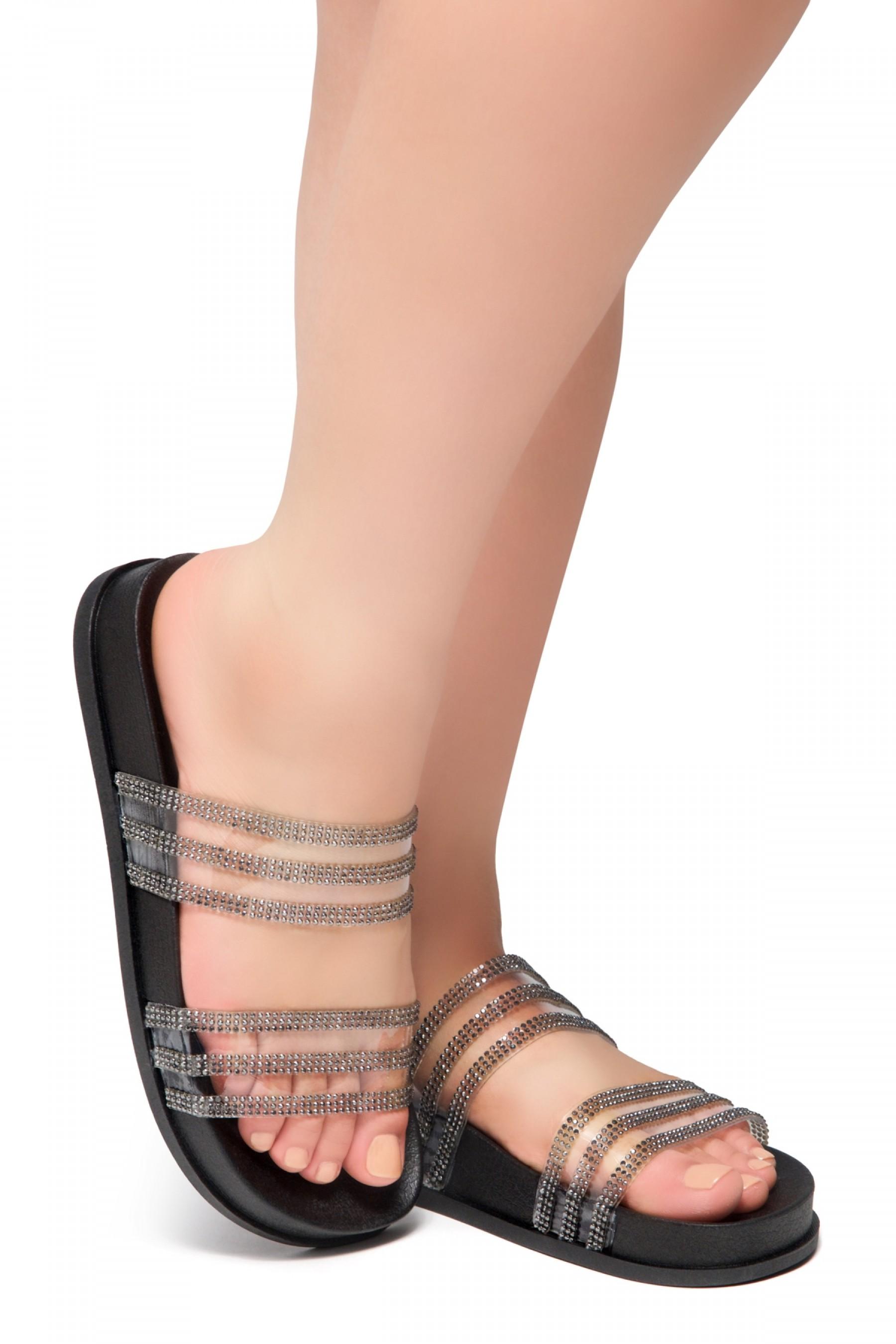 HerStyle Corey-Open Toe Open Back Jewelled Embellishment Slide Sandal (Black)