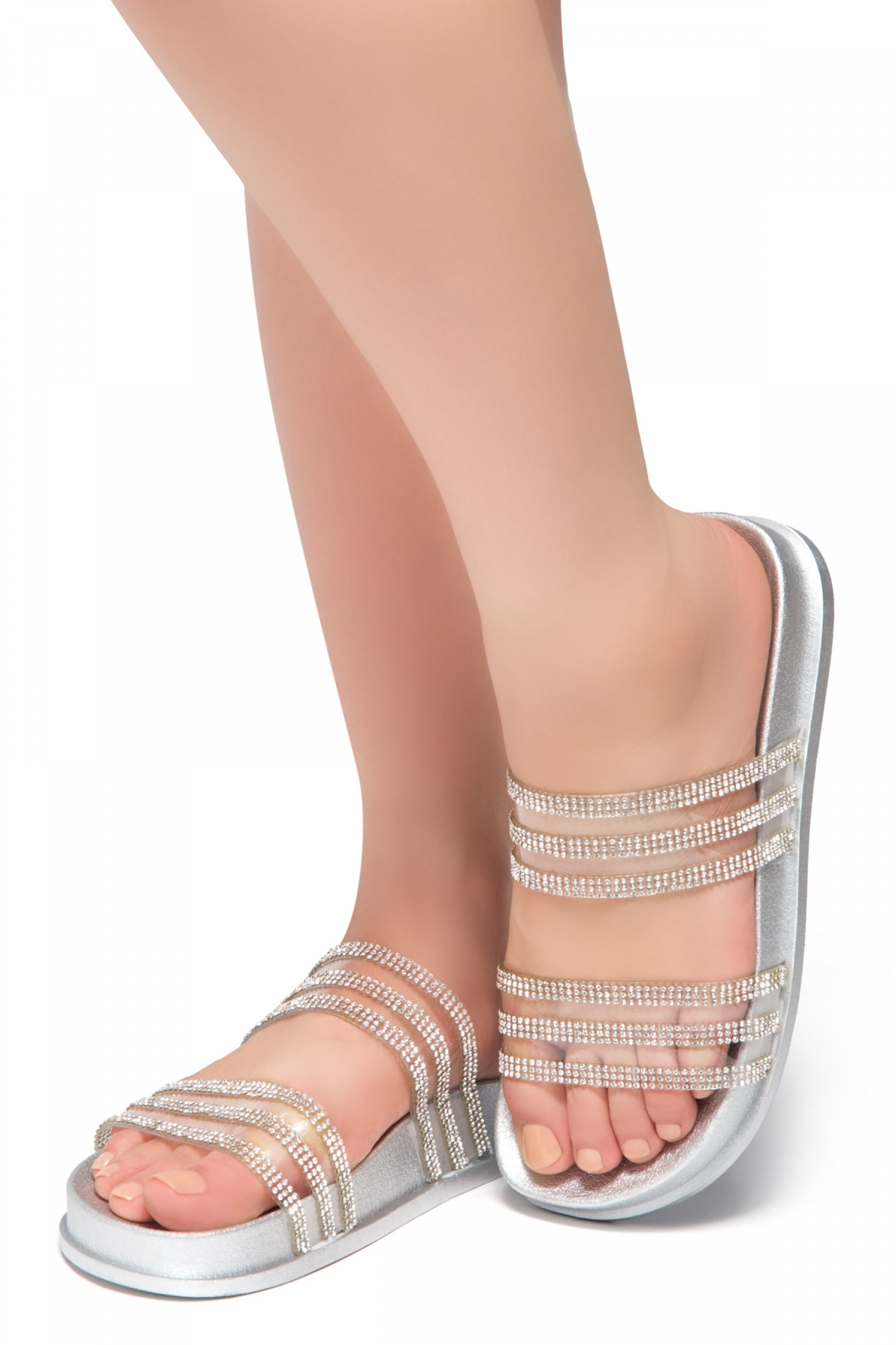 HerStyle Corey-Open Toe Open Back Jewelled Embellishment Slide Sandal (Silver)